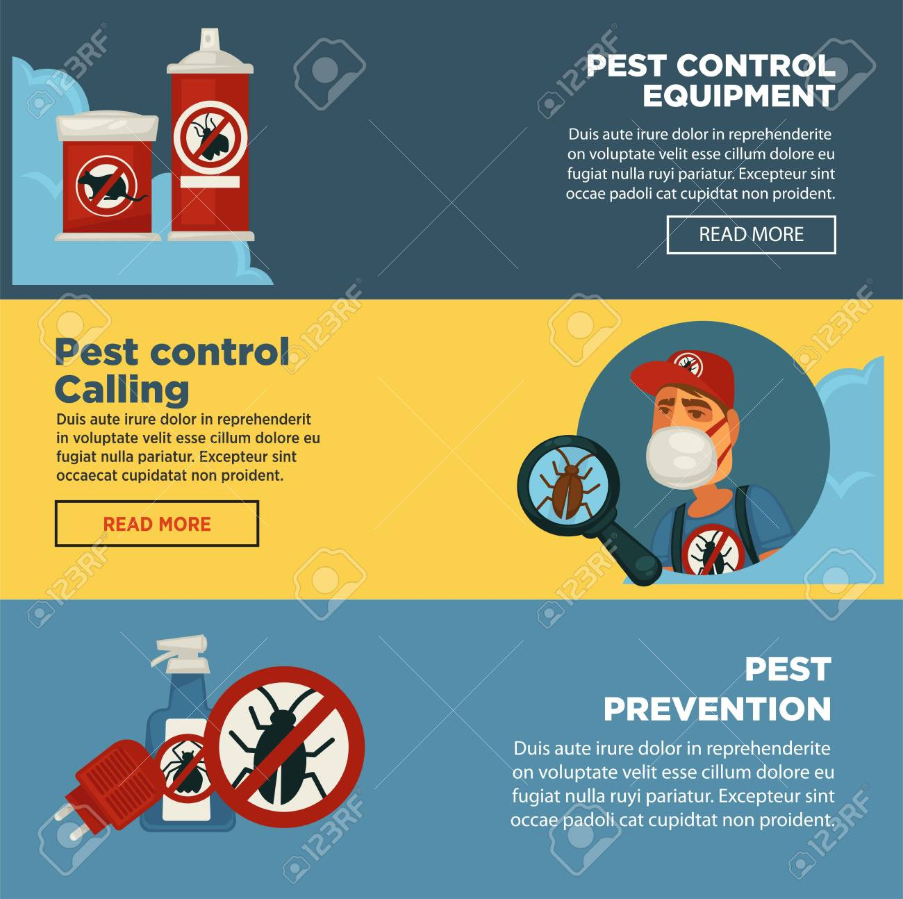 extermination pest control service banners template design of sanitary domestic exterminate disinfection equipment vector disinfectant