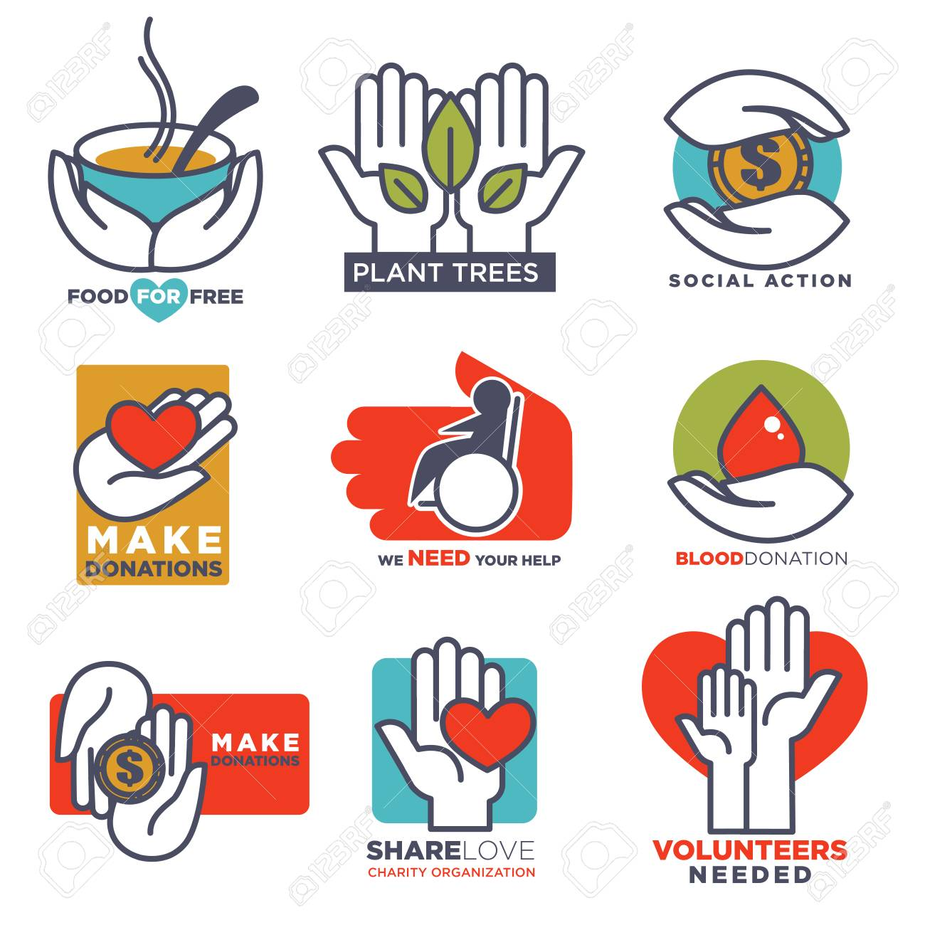 hand icons vector flat hands templates for social food charity
