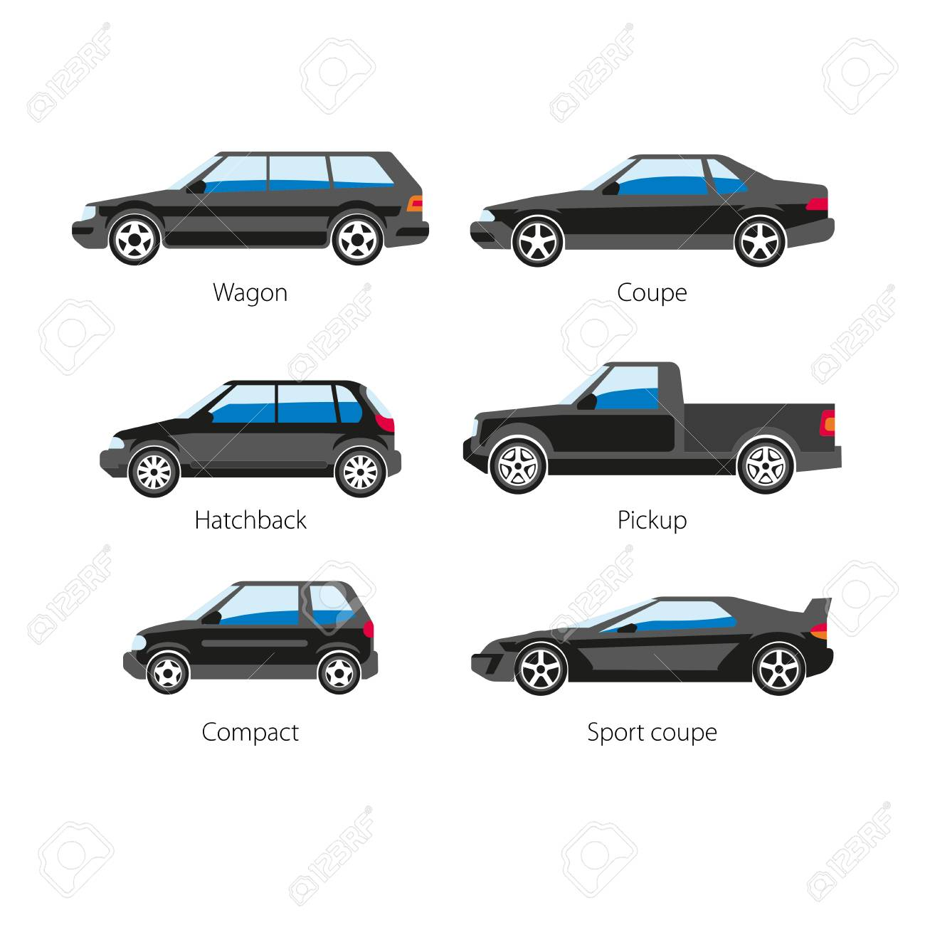 Car Automobile Body Types Set With Names Of Wagon Coupe Or Hatchback