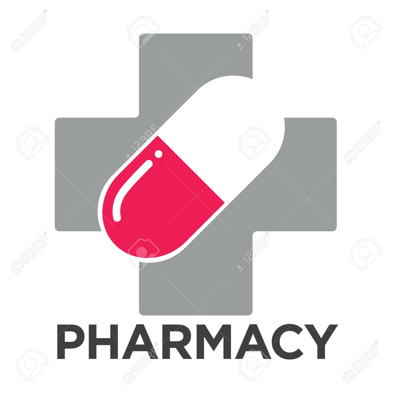 pharmacy or drugstore logo template vector cross and pill isolated