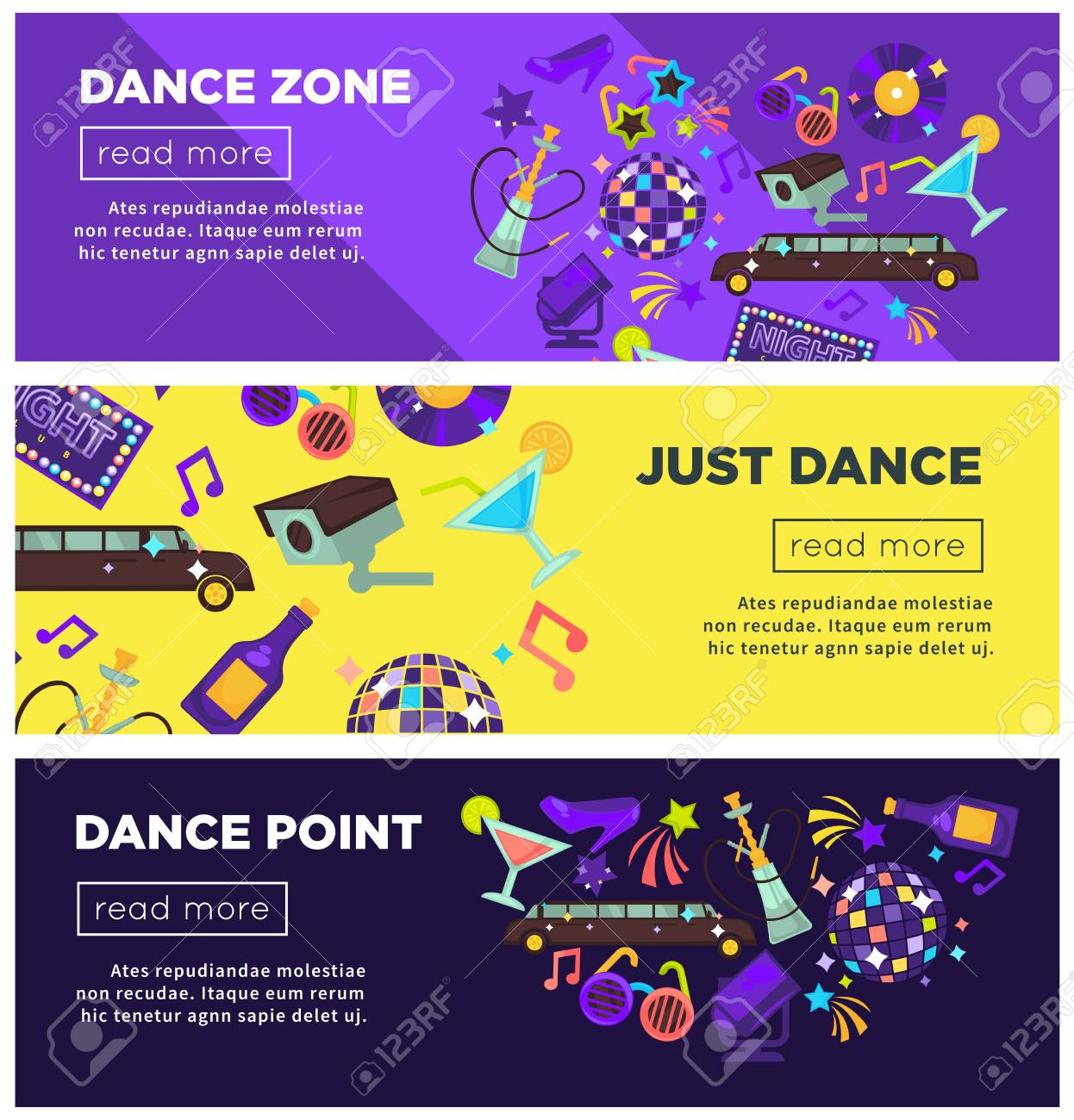 Dance Zone Promotional Bright Internet Posters Templates Set ...