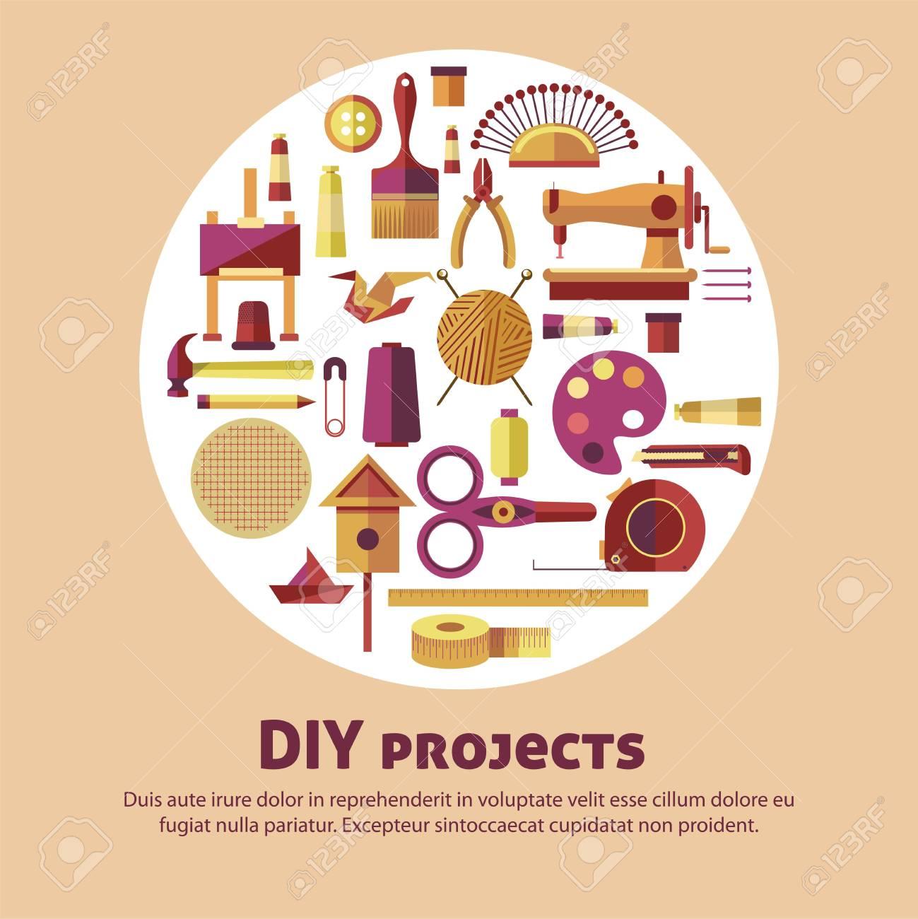 Creative Art Of Diy Projects Vector Poster For Kid Handicraft
