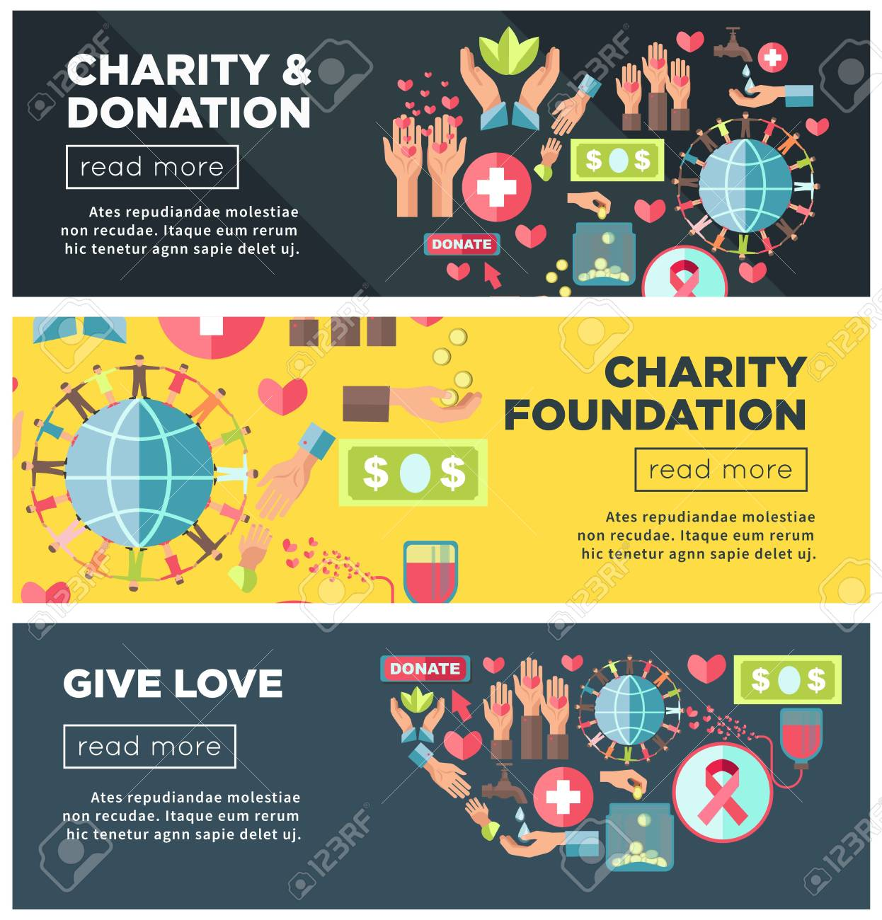 charity and donation foundation promo internet posters templates stock vector 95060567