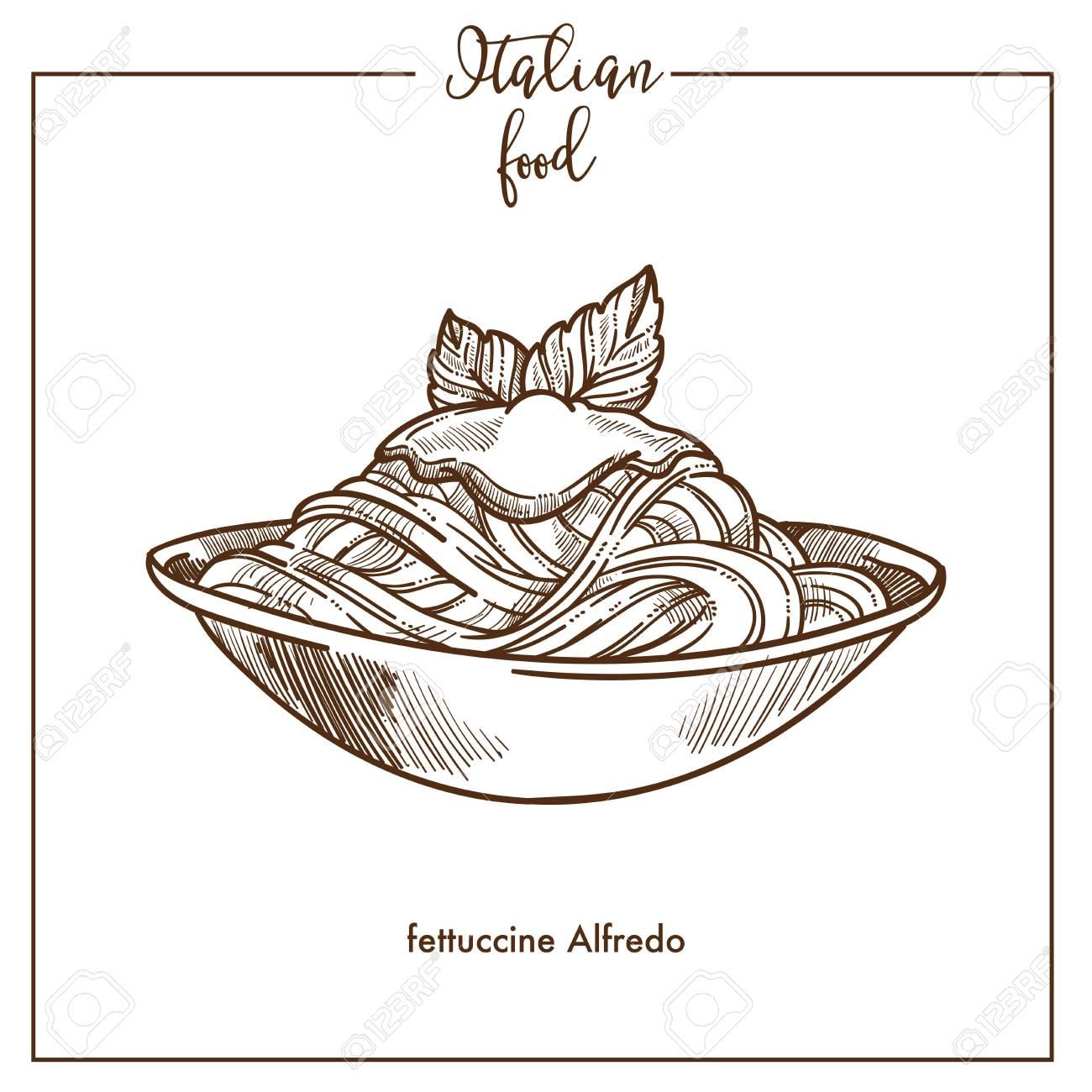 Fettuccine Alfredo pasta sketch vector icon for Italian cuisine food menu  design Stock Vector , 95578008