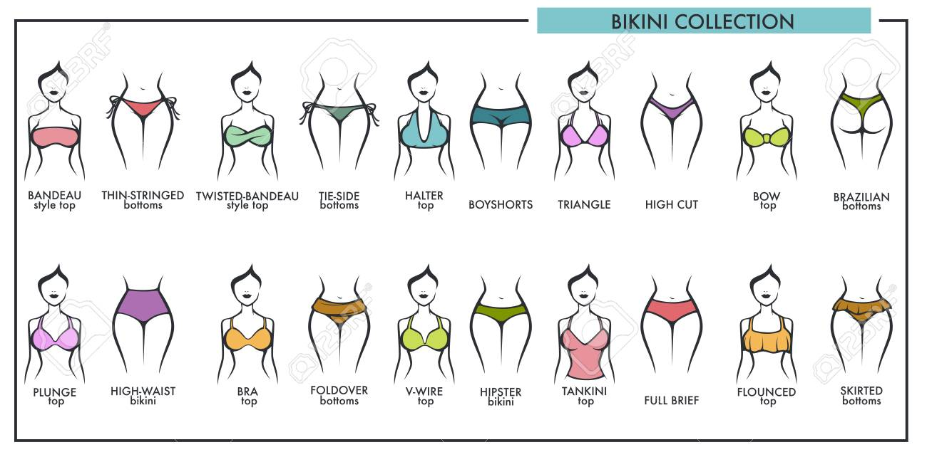 Woman Vector Icons Of Bikini Types Fashion Collection Lingerie 34AjR5L