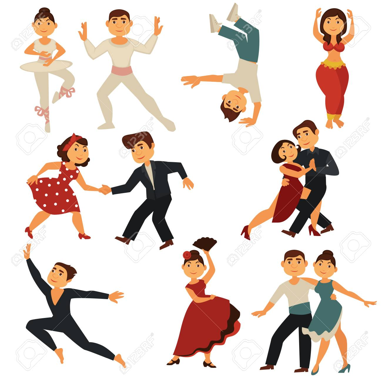 Dancing People Dance Different Dances Vector Flat Cartoon Characters Royalty Free Cliparts Vectors And Stock Illustration Image 96238571