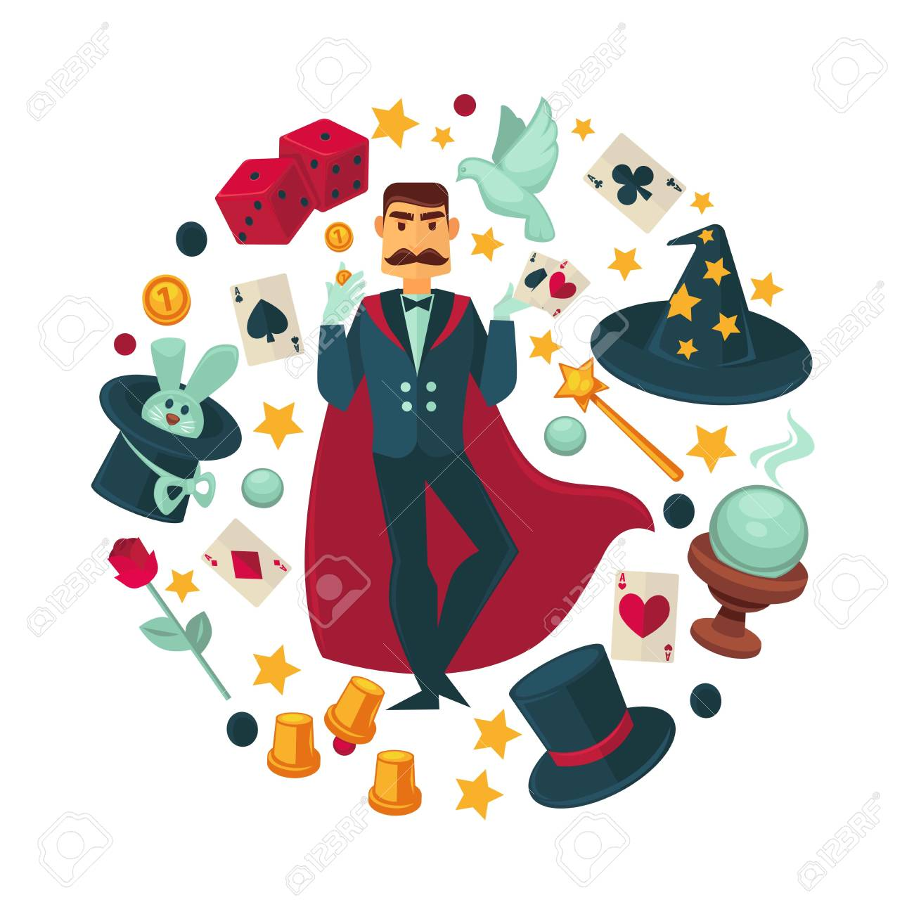Magician in red cloak surrounded with equipment for tricks - 97476147