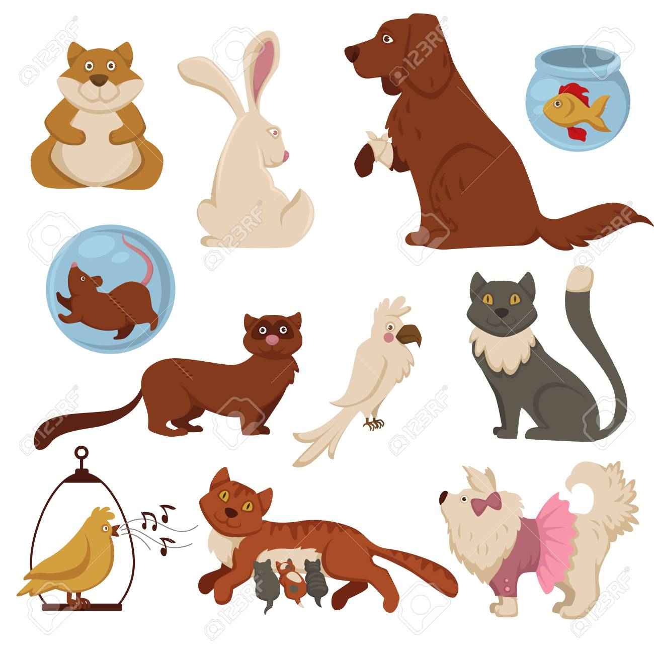 Pets cartoon characters vector flat animal icons of cat and dog..