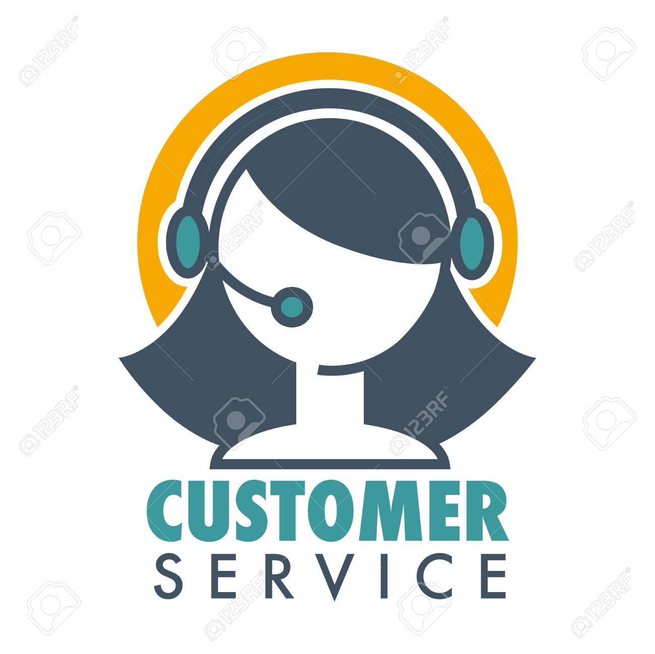 Customer service promotional emblem with woman operator in headset. Informative help about bought product logo. Aid line emblem isolated cartoon flat vector illustration on white background. - 101025373