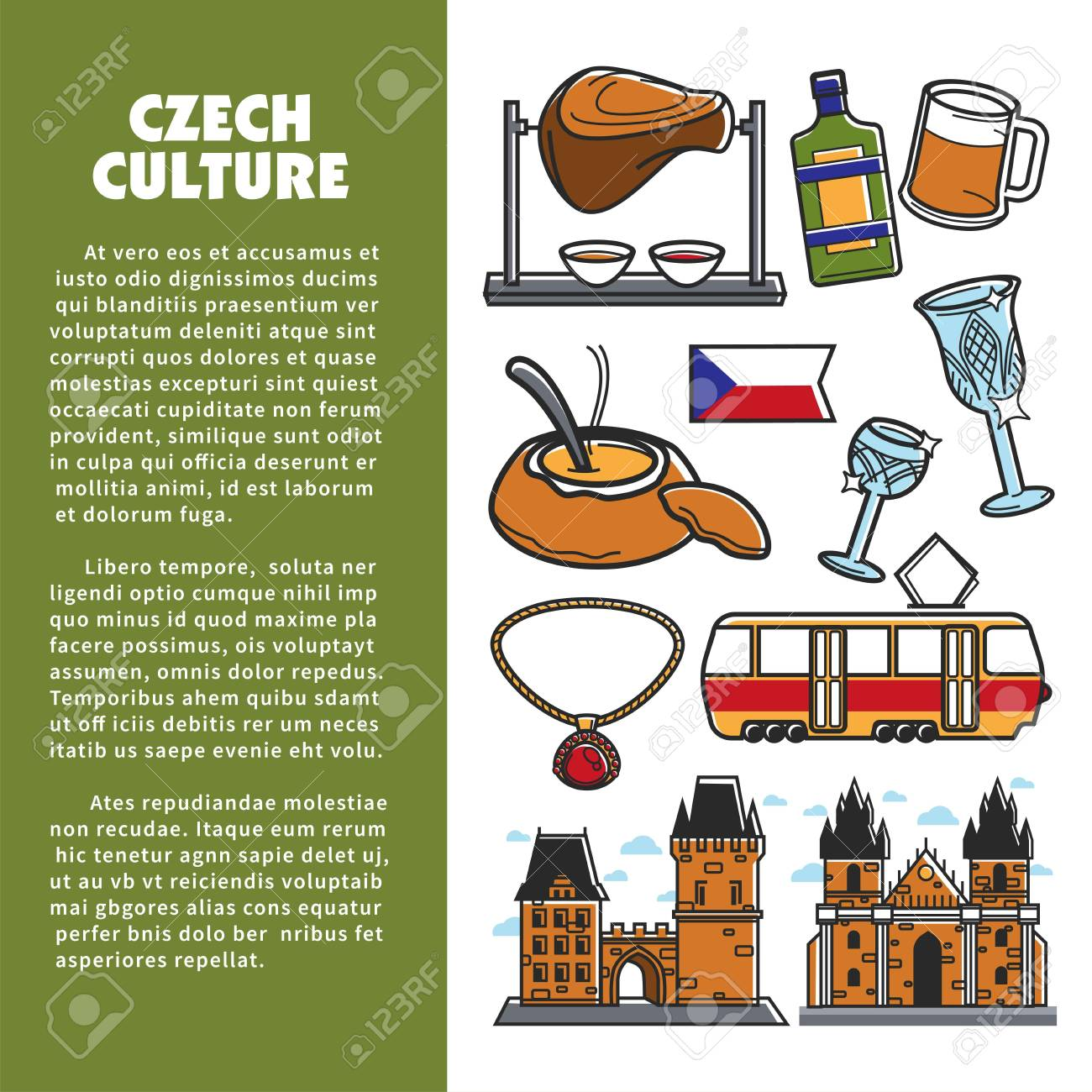 Czech Culture Symbols And Vector Prague Landmarks Royalty Free