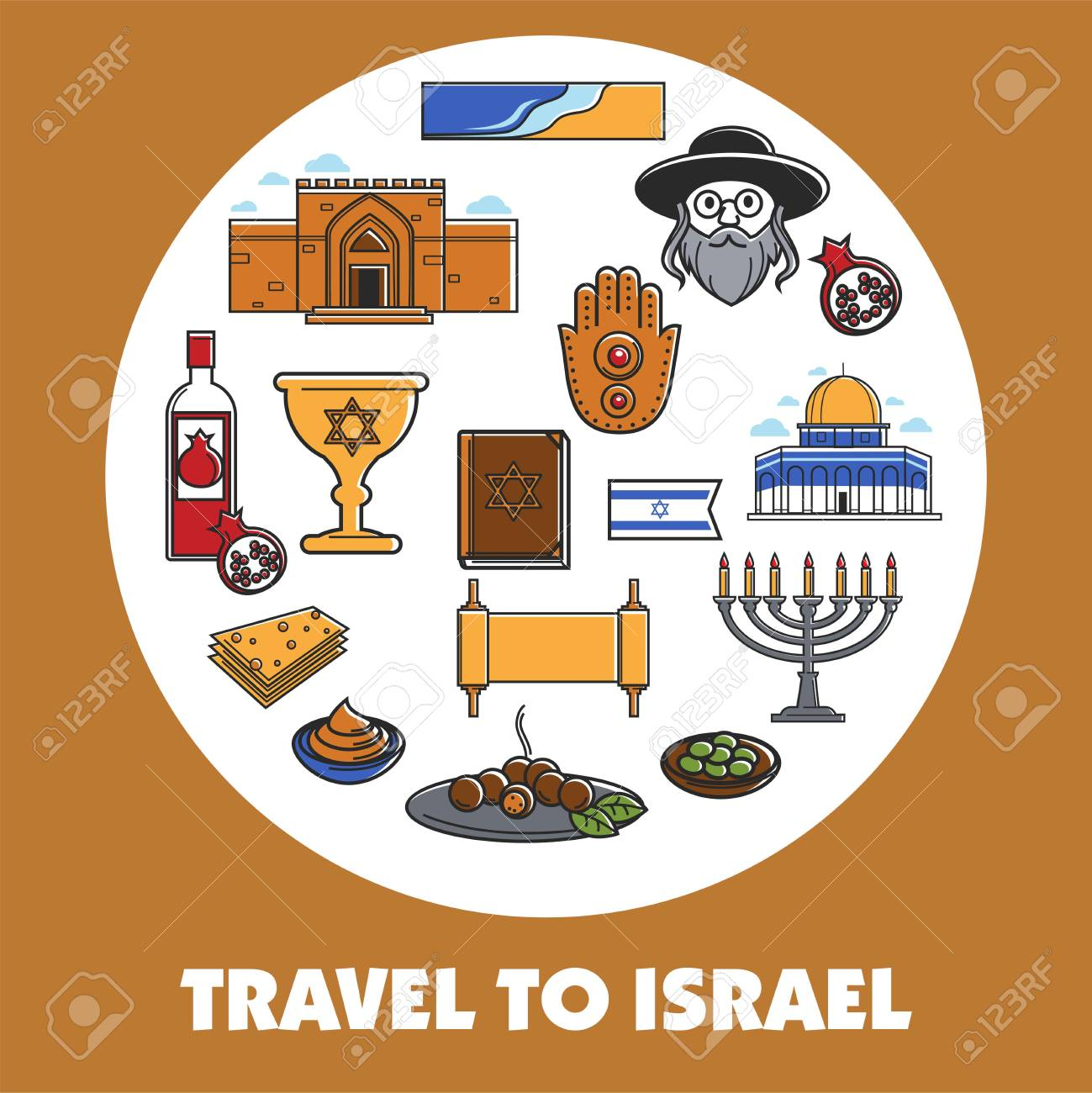 Travel To Israel Promo Poster With National Symbols Set Royalty Free