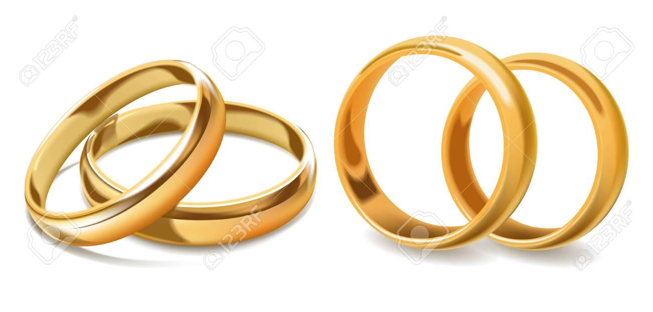 Golden wedding rings vector 3d icons - 103482999