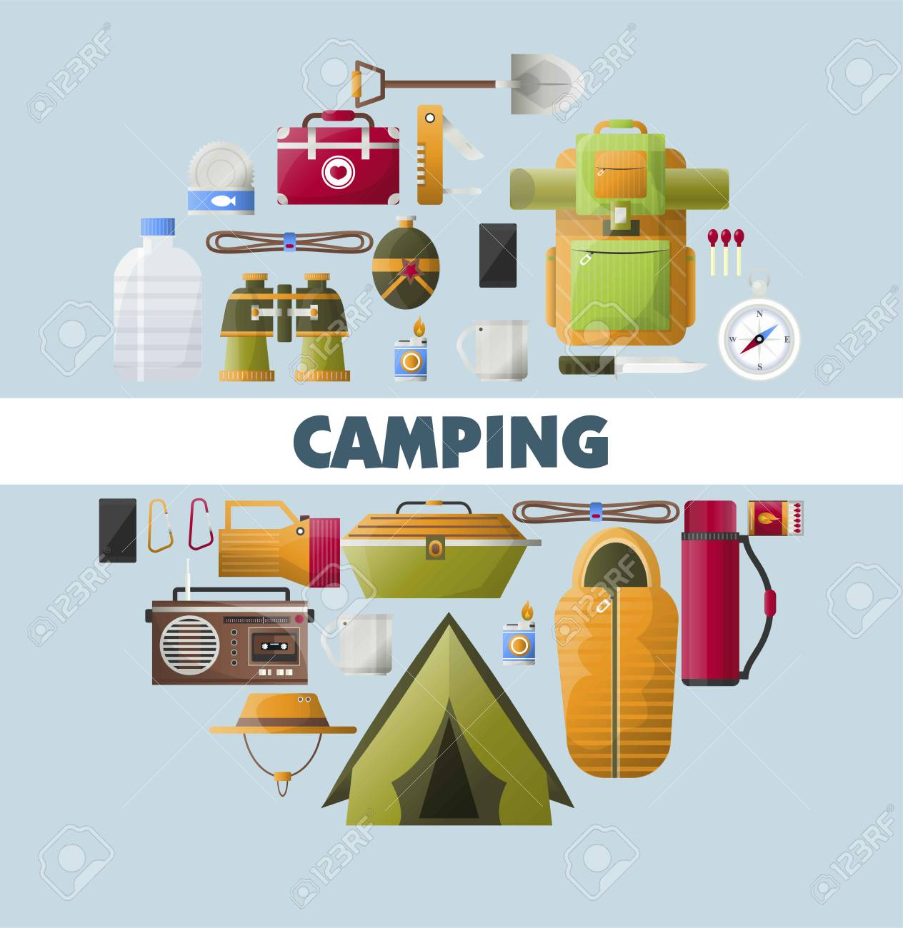online retailer 9e9f1 39e25 Camping equipment poster for scout hiking or mountaineering camp..