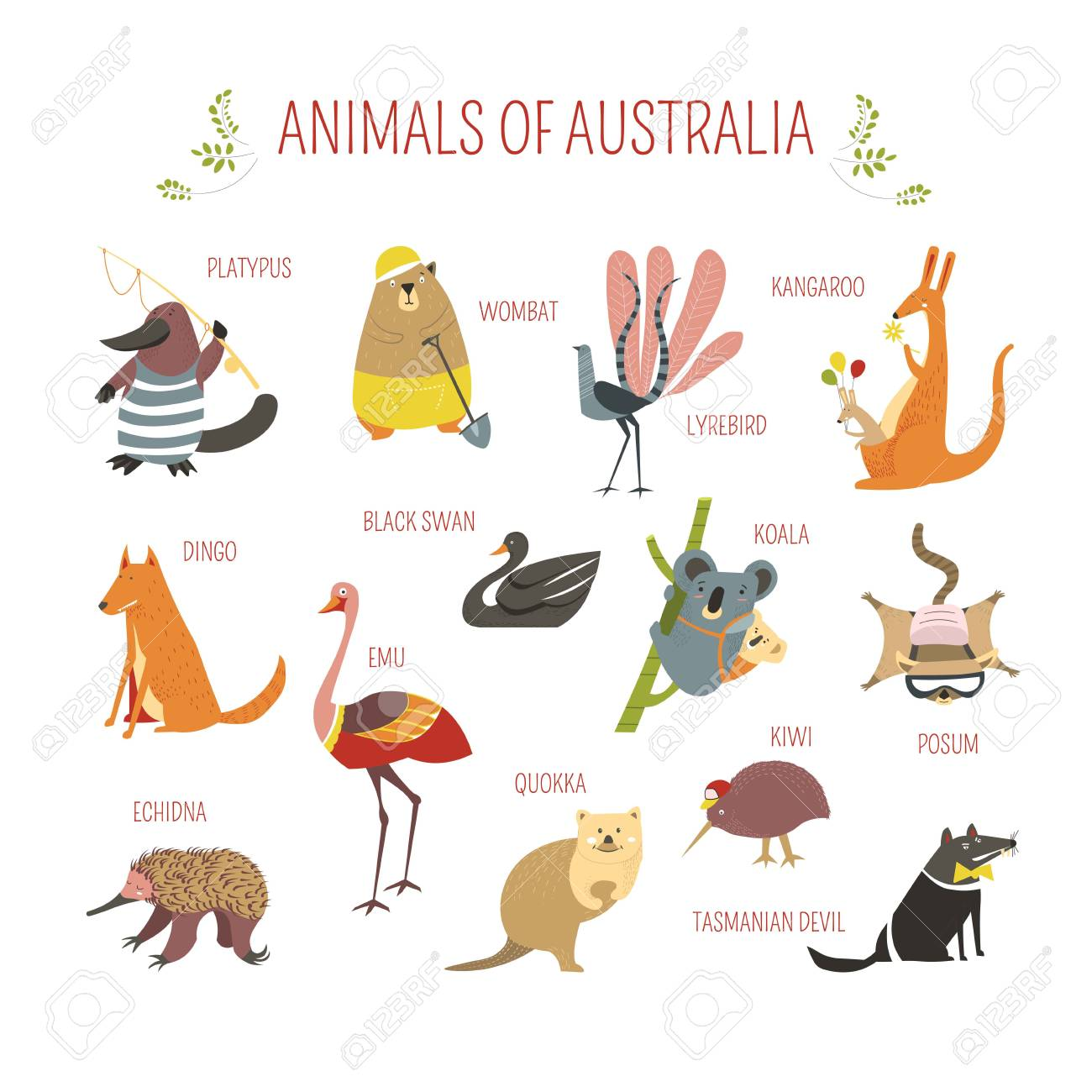 Cartoon Australian Animals And Birds For Kids Design Vector Royalty Free Cliparts Vectors And Stock Illustration Image 104027382