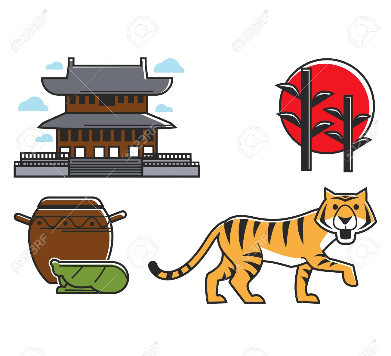 Chinese Oriental Various Symbolic Icons Set Traditional Japanese