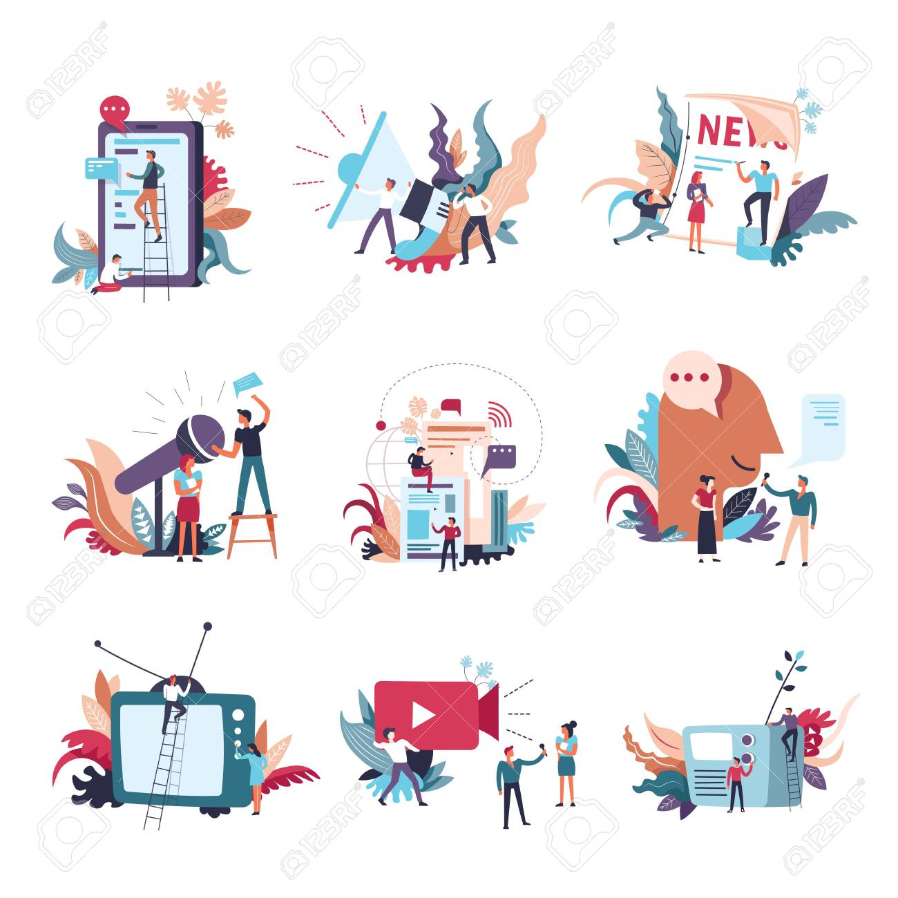 Journalism, mass media news and information conceptual icons. Vector small people with newspaper or TV and radio on journalist and reporter video interview and megaphone announce - 110407027