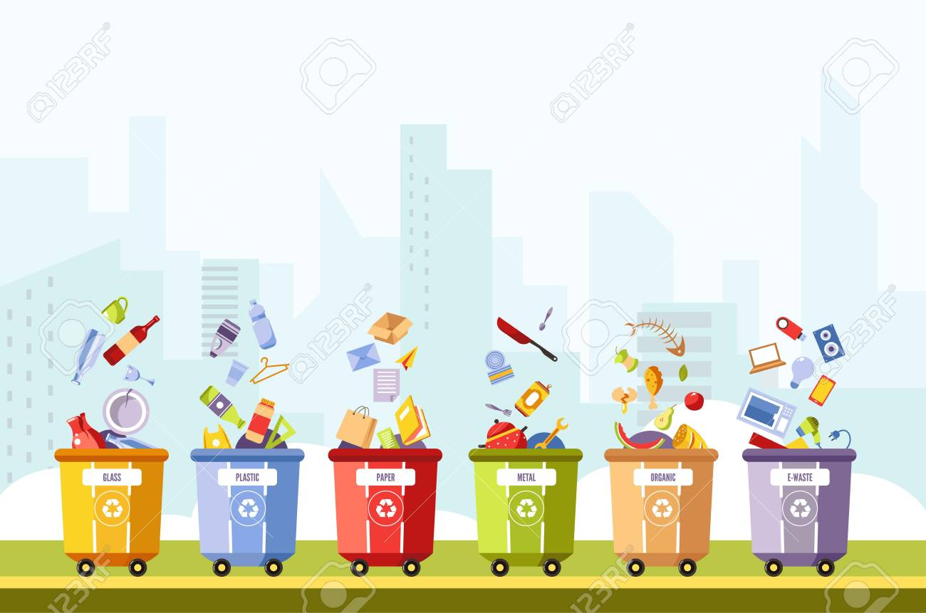 Glass and plastic, paper and metal, organic and waste separation in different boxes vector. Recycling of waste in dustbins, trash can with cutlery tablets and laptops, fish bones, bread and food dump - 110299719