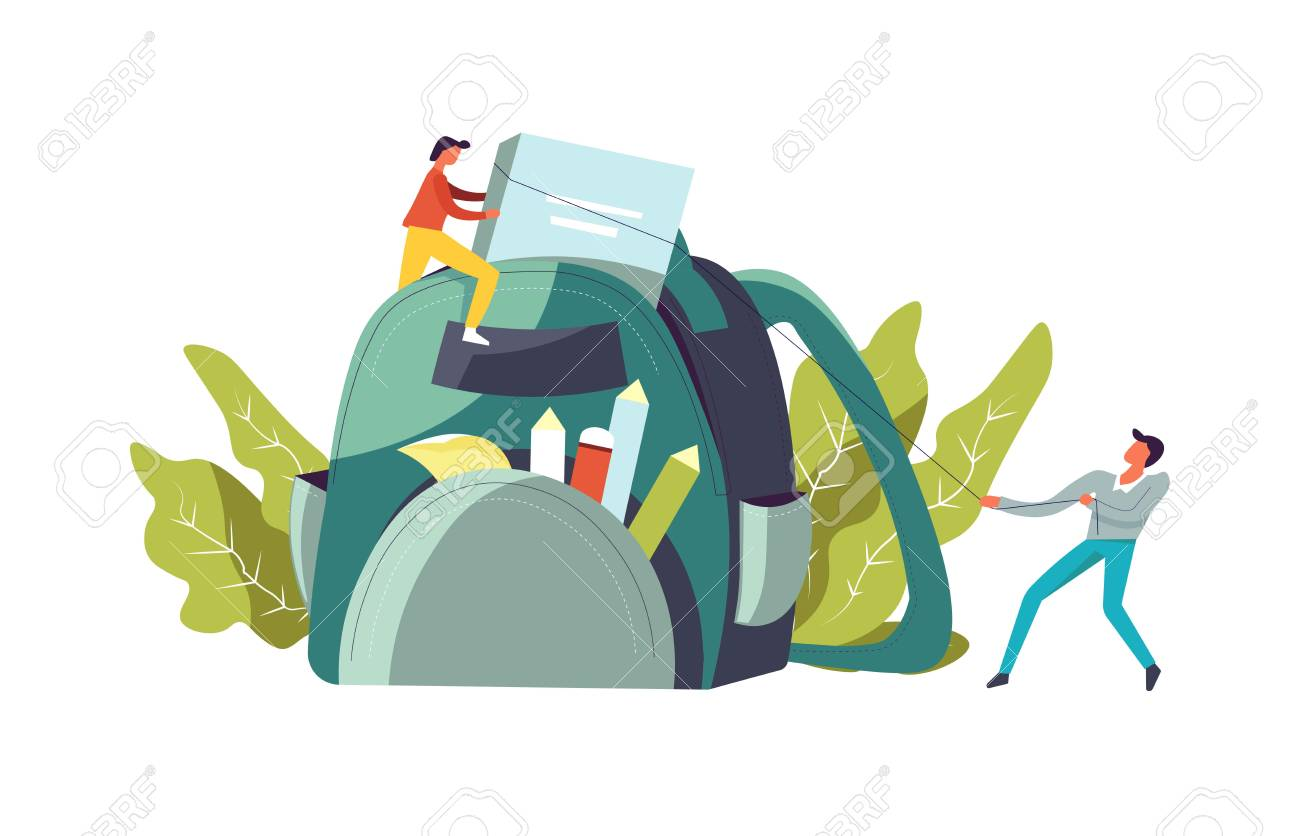 Backpack with books and pencil for school vector. People male and female pulling textbook, organizing supplies, foliage and leaves decoration. Satchel with pen and memo stickers for making notes - 108299775