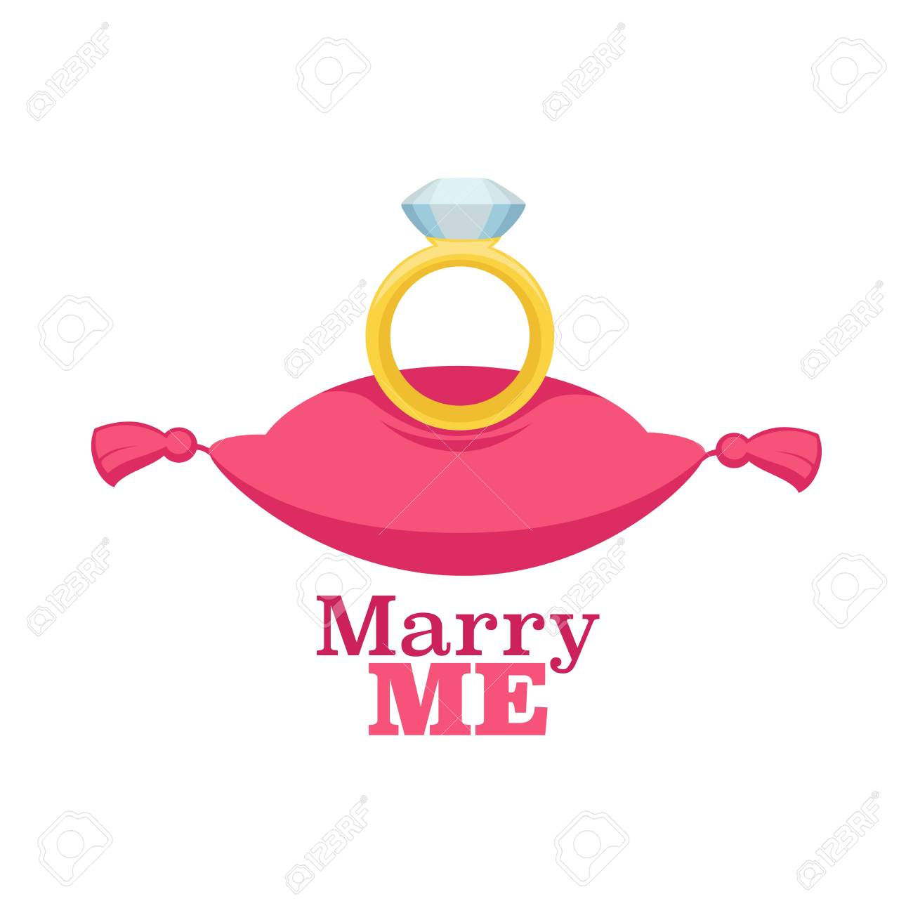 Marry me poster with ring and cushion proposal isolated icon