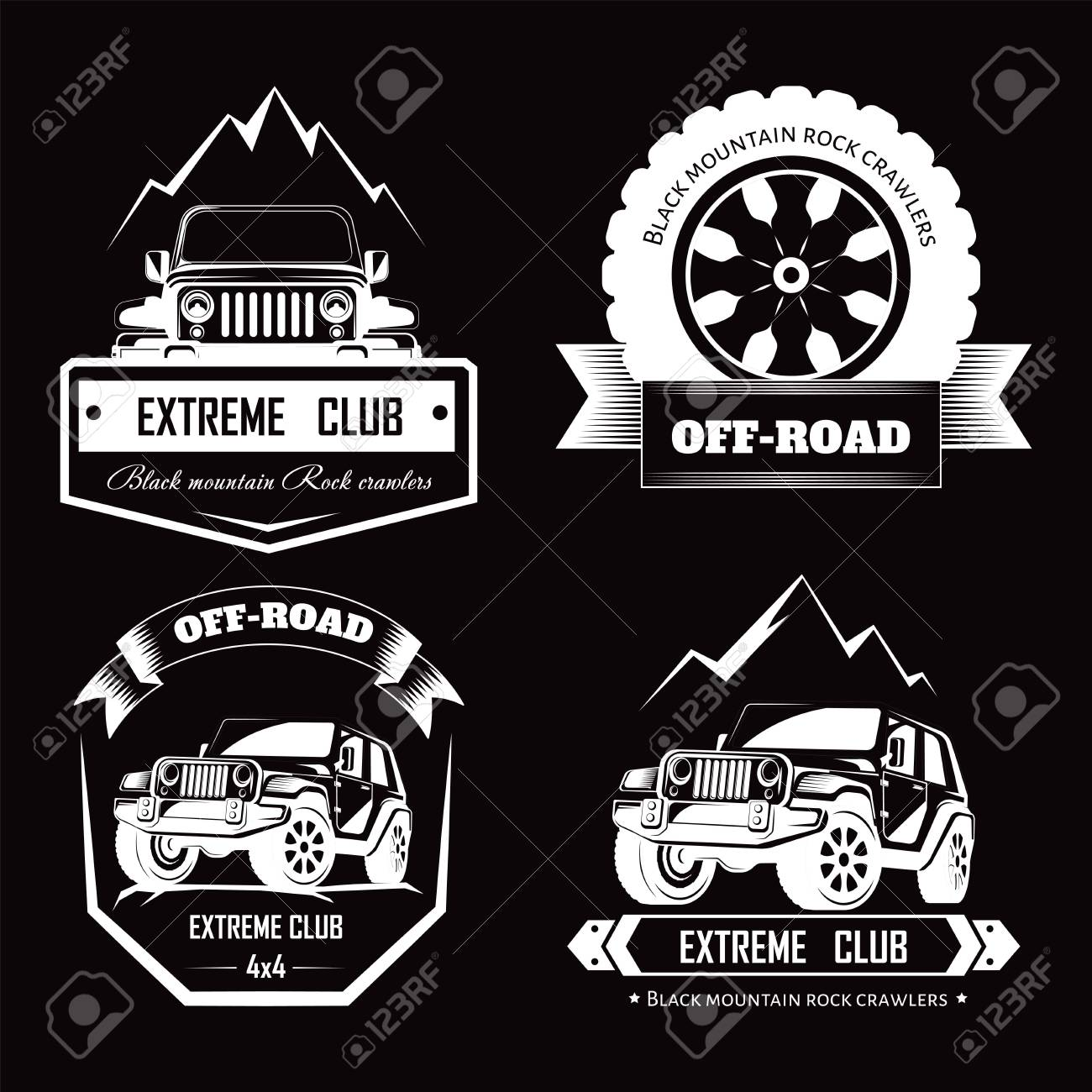Off Road 4x4 Extreme Car Club Logo Templates Vector Symbols Royalty Free Cliparts Vectors And Stock Illustration Image 111124350