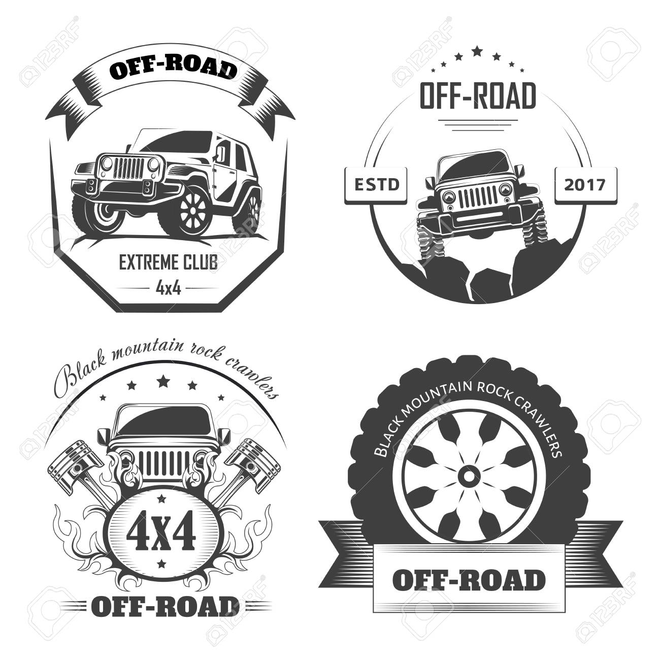 Off Road 4x4 Extreme Car Club Logo Templates For Design Projects Royalty Free Cliparts Vectors And Stock Illustration Image 111124374