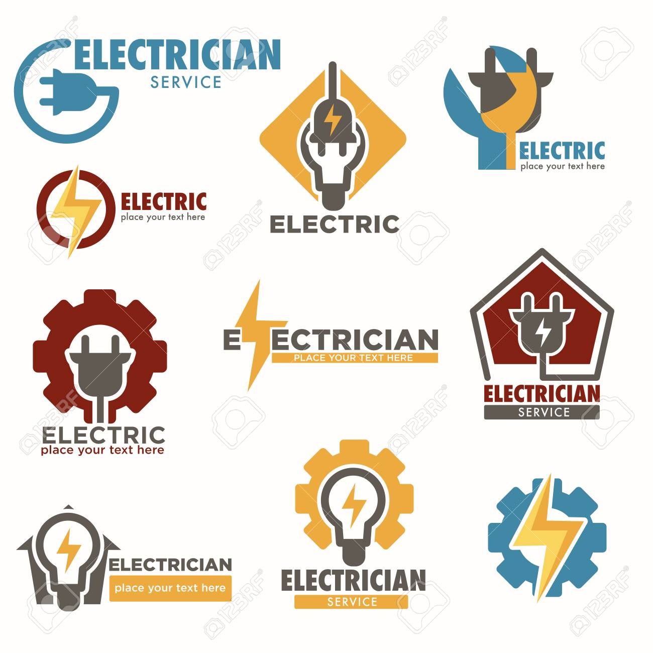 Electrician service and electric sockets with bulbs logos set - 112511329