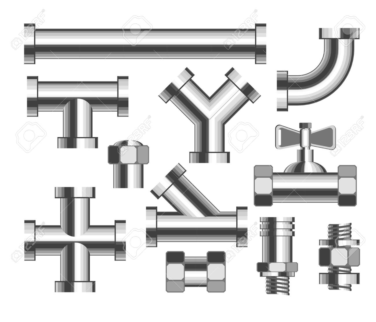 Pipes and tubes plumbing and building materials vector crane and nozzle bathroom water piping construction elements metal details and parts adapters replacement and household isolated objects. - 125864321