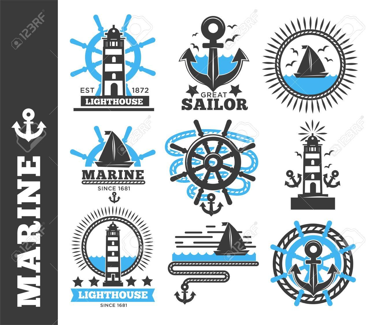 Marine And Nautical Logo Templates Or Heraldic Symbols