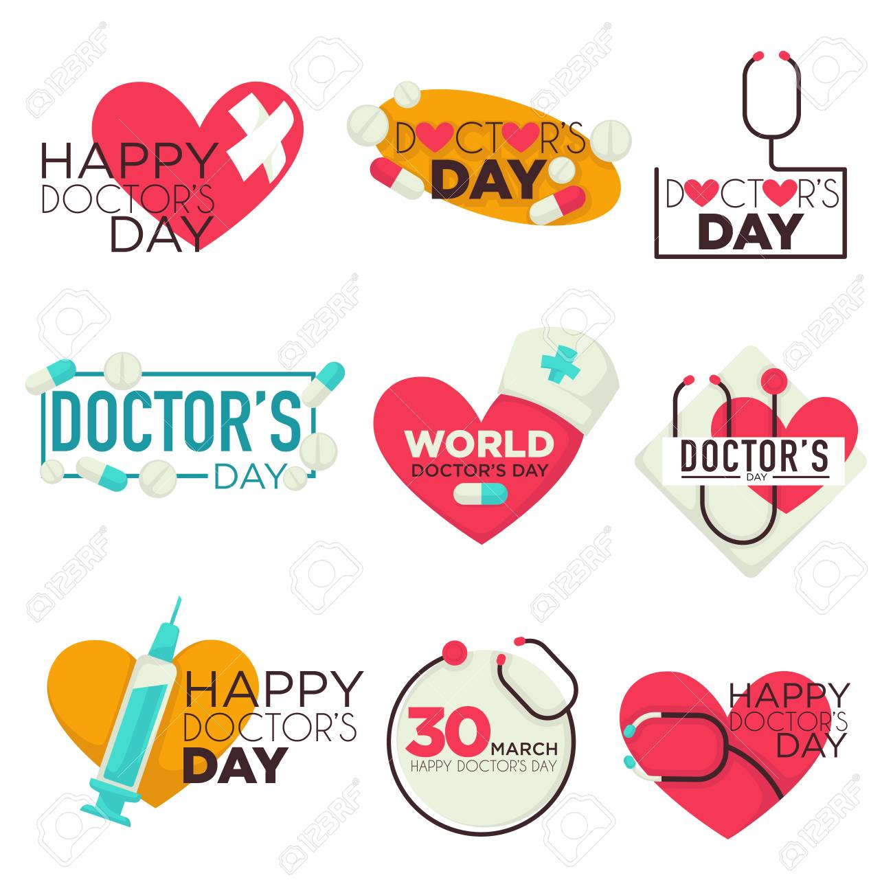 Doctors day isolated icons medicine pills and syringe - 117444851
