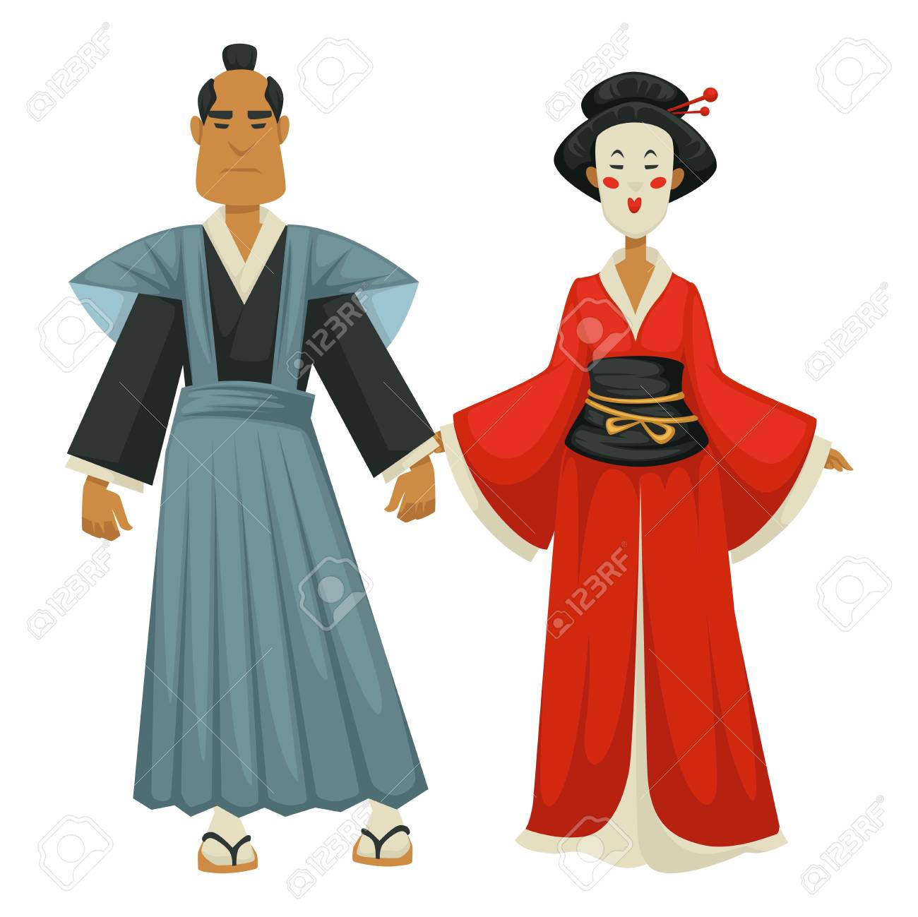 Samurai And Geisha Japanese Man And Woman In Traditional Clothing Royalty Free Cliparts Vectors And Stock Illustration Image 124973395