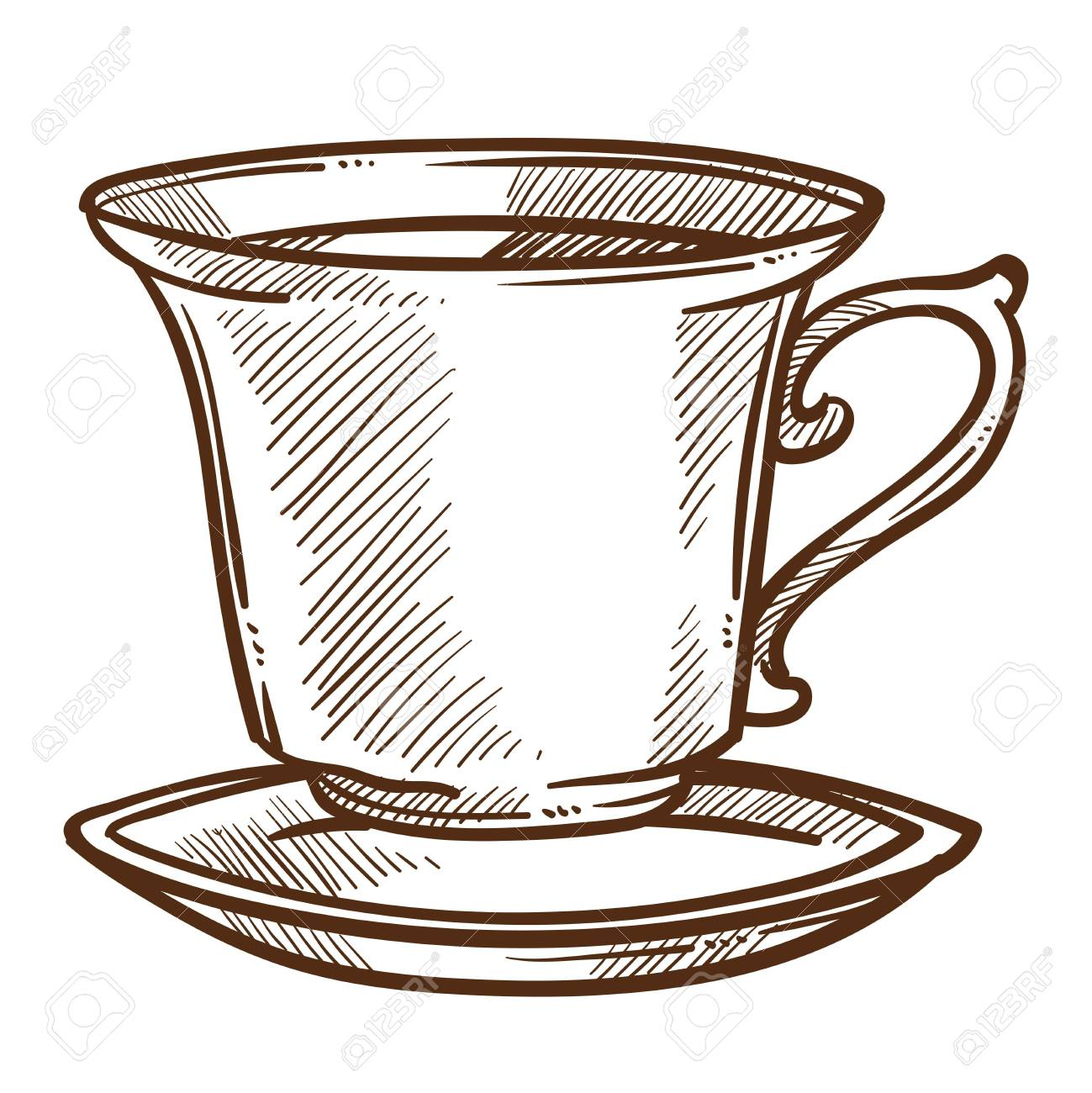 Hot Drink Coffee Or Tea Cup On Saucer Isolated Sketch Vector Royalty Free Cliparts Vectors And Stock Illustration Image 124856176