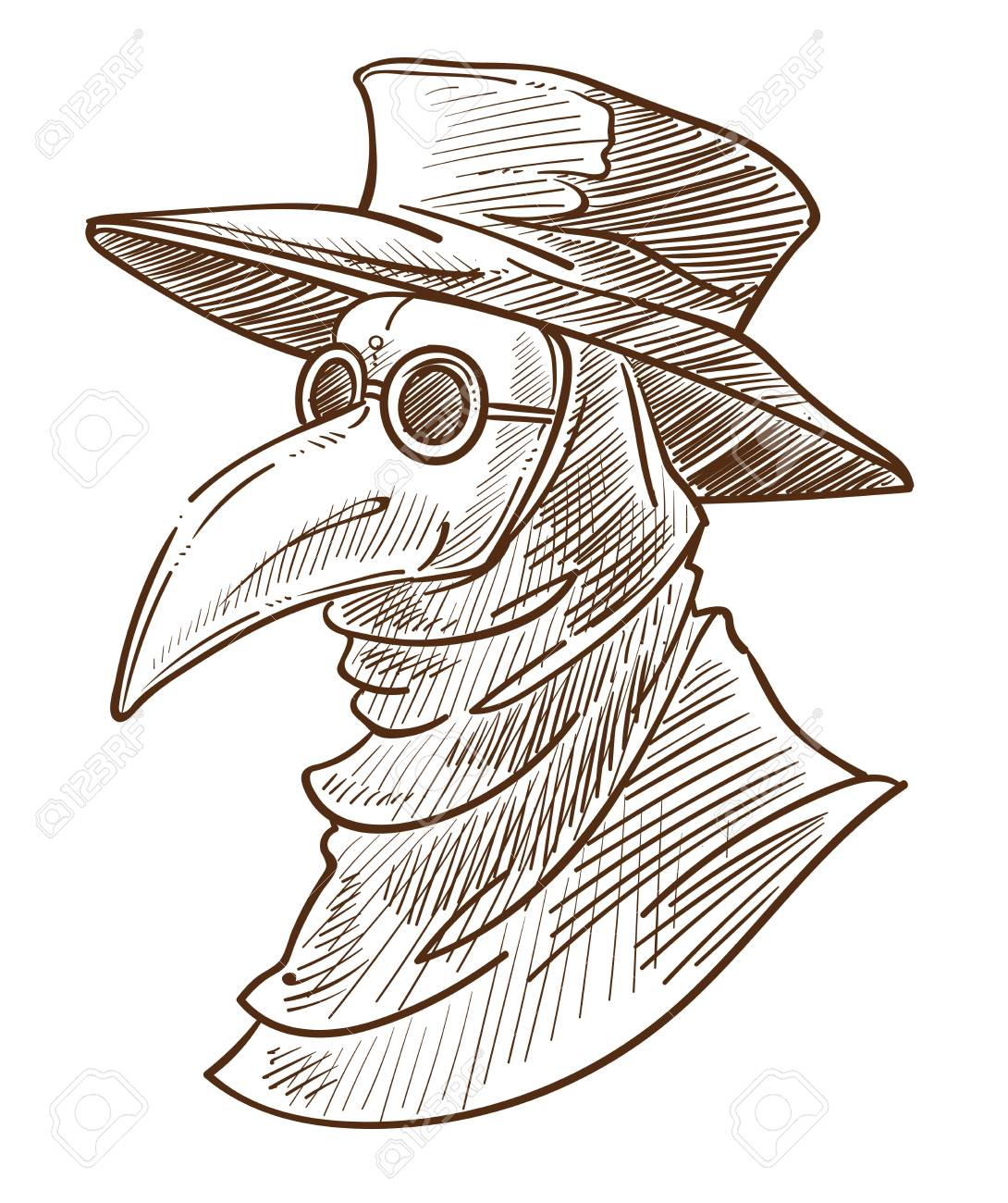 Medieval Death Symbol Plague Doctor Mask Isolated Sketch Crown Royalty Free Cliparts Vectors And Stock Illustration Image 124687622