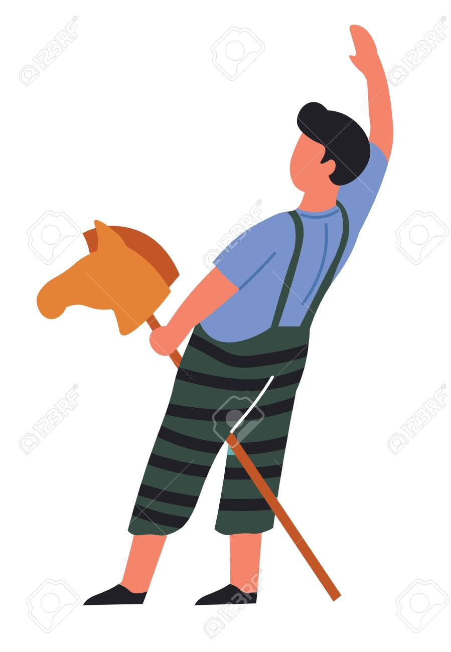 Rider Or Cowboy Child Playing Game Toy Horse Head On Stick Seamless Royalty Free Cliparts Vectors And Stock Illustration Image 124221645