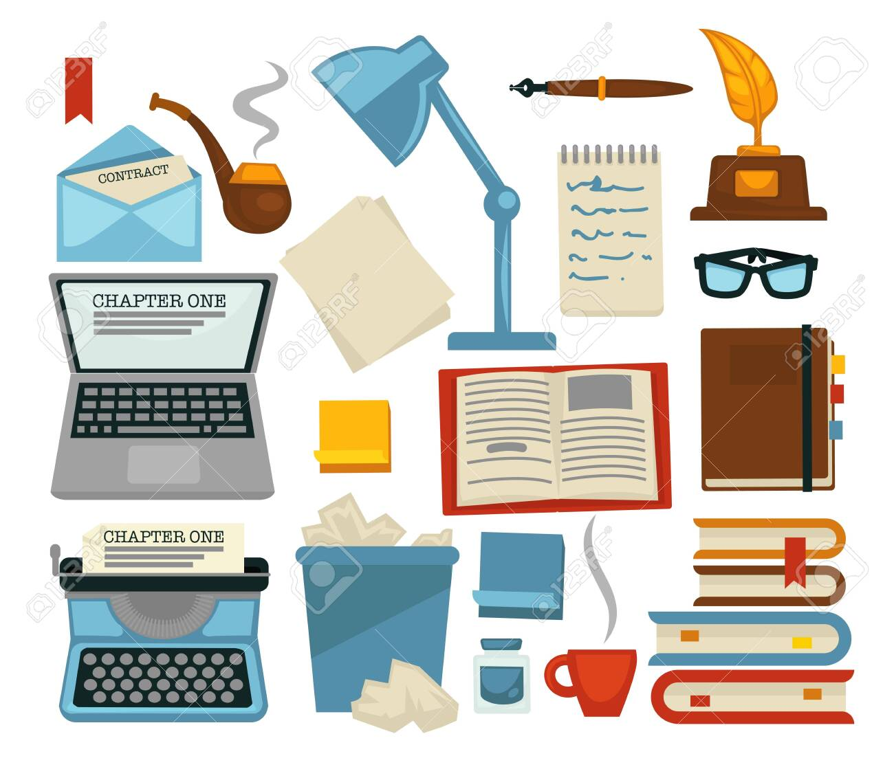 Content writing equipments and objects laptop and lamp vector glasses and envelope with letter pipe and typing machine bin with pages and books with bookmarks cup of coffee feather ink flat style set. - 124221664