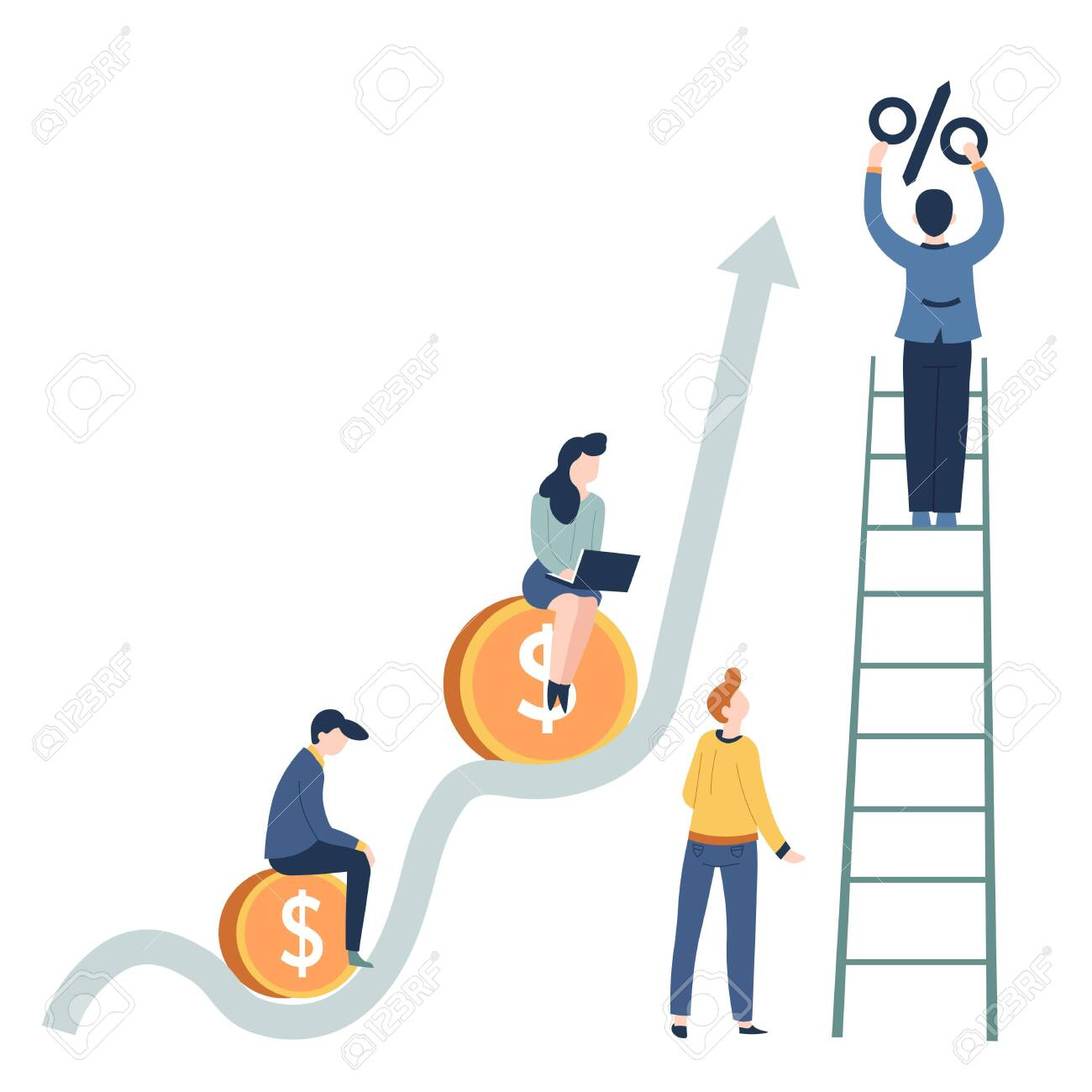Profit growth business concept salary and career startup vector gold coins and graphic percentage increase man on ladder woman with laptop businessman and businesswoman entrepreneurs teamwork. - 123206735