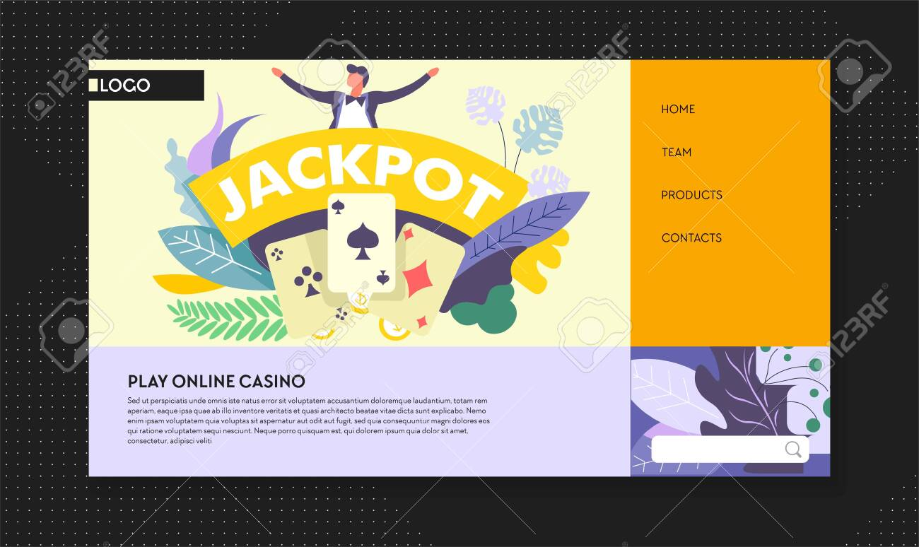 Jackpot online casino win web page template vector play cards