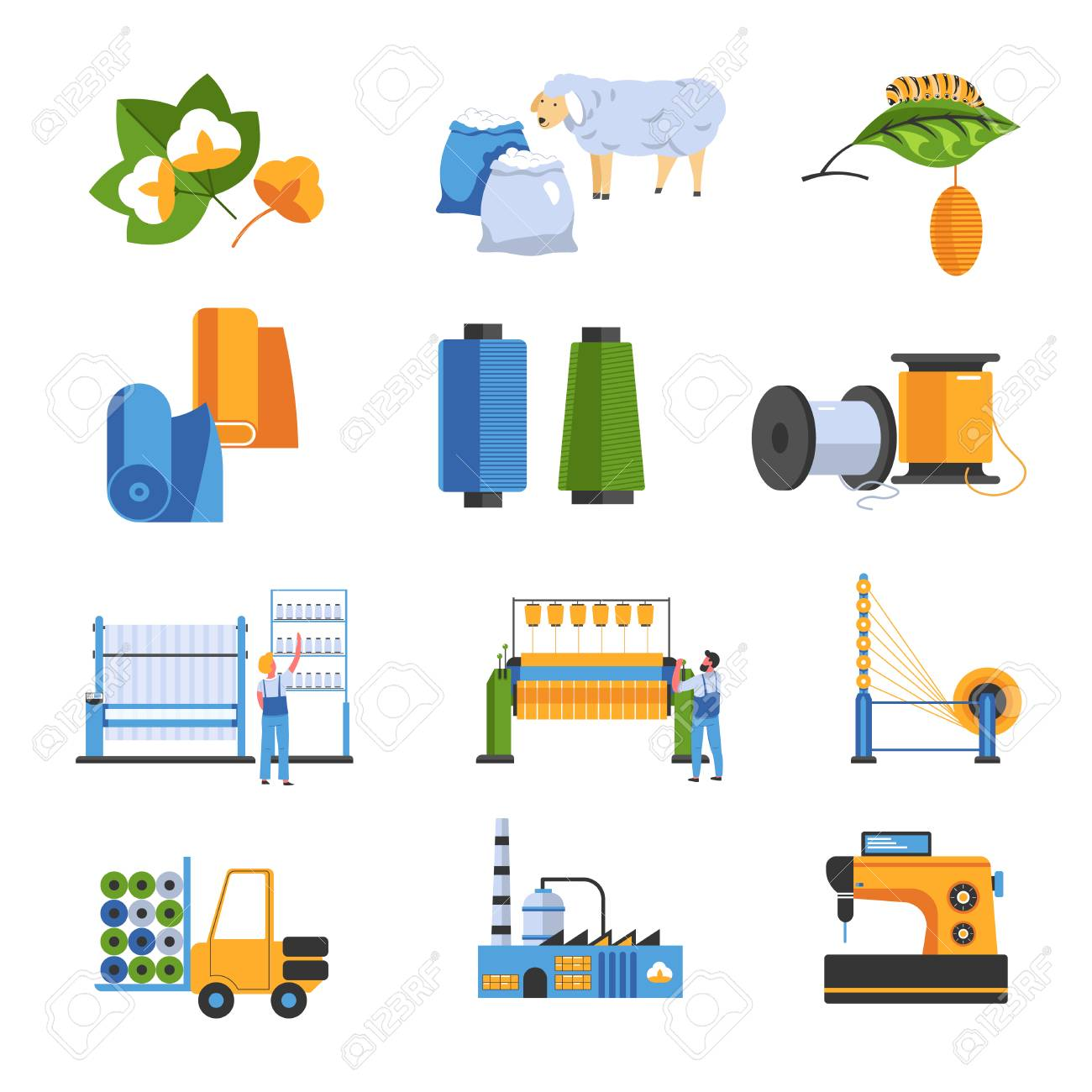 Textile factory isolated icons cotton and wool or silk - 121892732