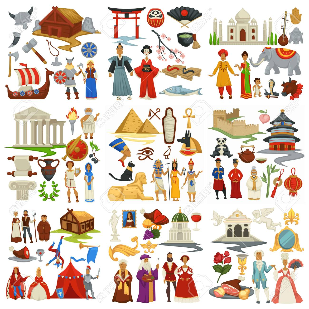 World history and countries culture traveling and exploration epochs - 123337003