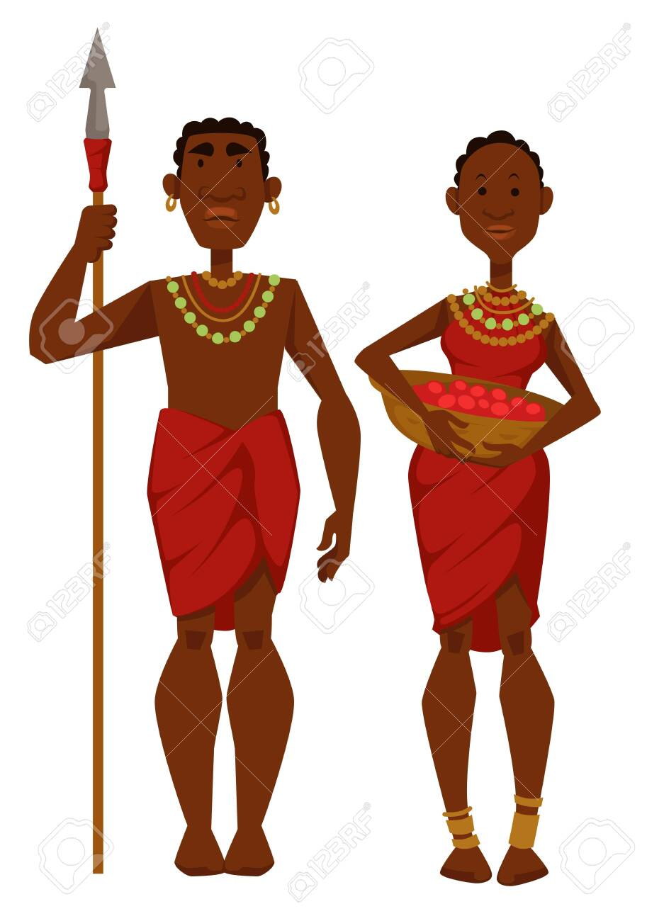 Tribe members African family man warrior with spear and woman with fruit harvest vector isolated male and female character ethnicity or nationality husband hunter and housewife travel to Africa. - 124821505
