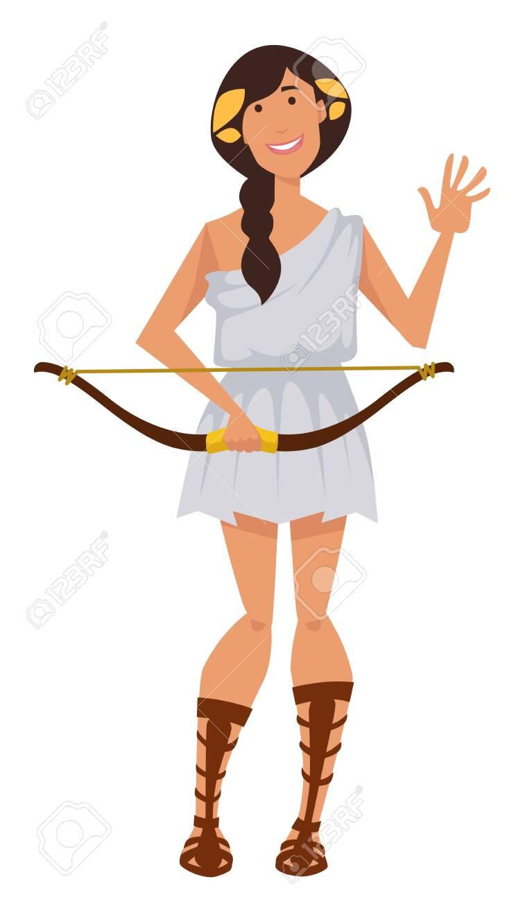 Artemis Ancient Greek Goddess With Bow Symbol Of Hunt Wilderness