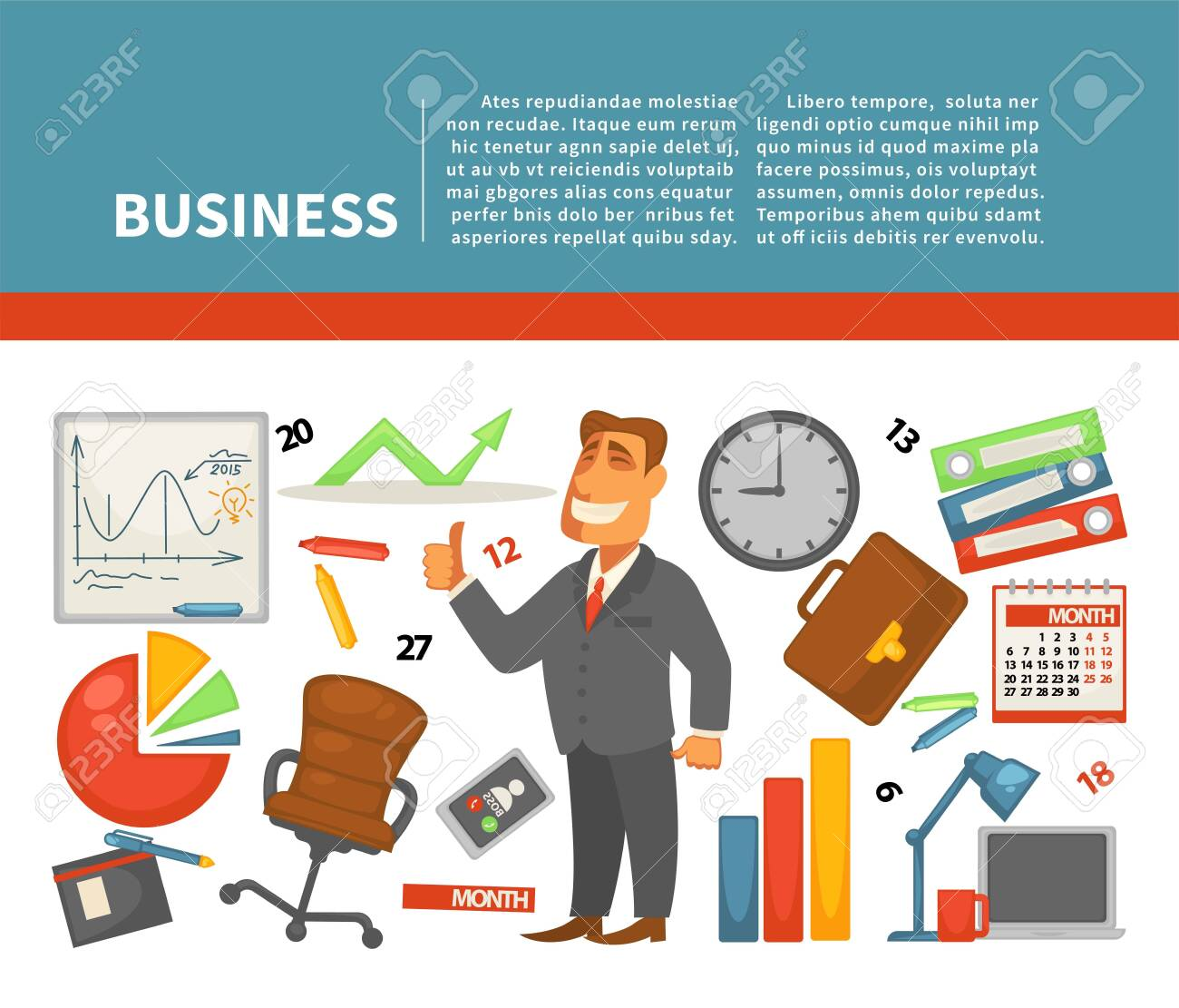Business Equipment Businessman And Work Financial Graphics Or
