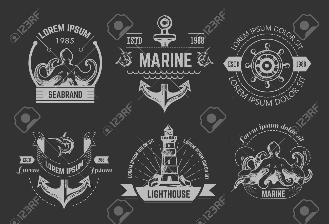 Nautical or marine symbols isolated icons octopus and anchor - 126836437
