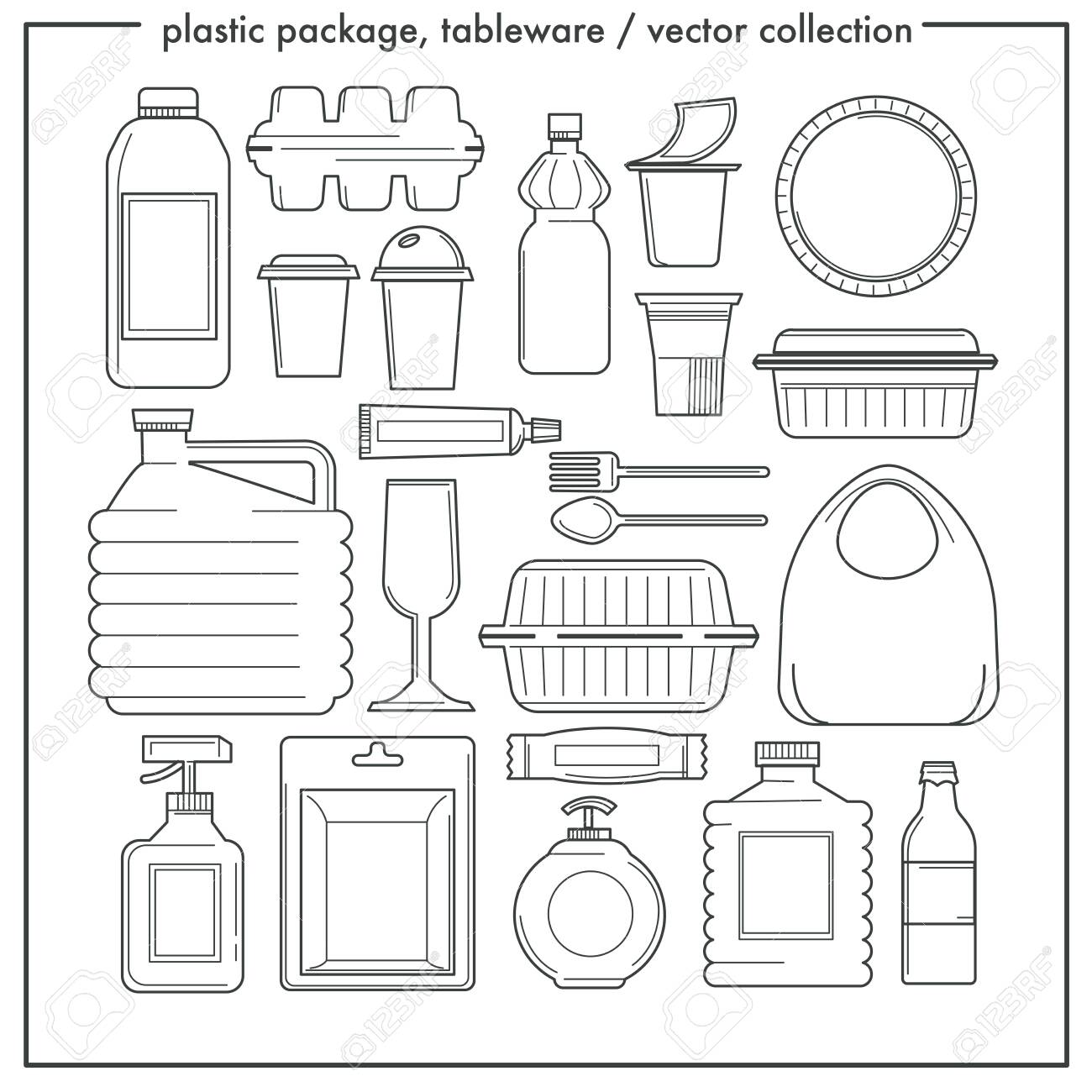 Disposable tableware and plastic packaging isolated outline icons - 129761938