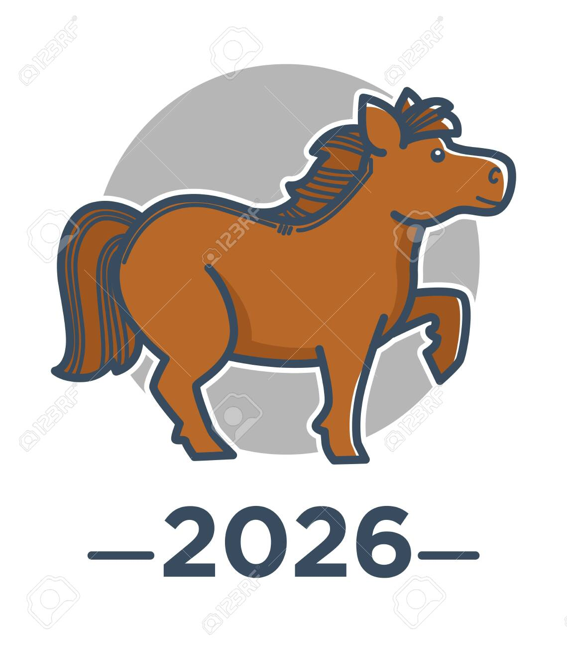 Horse Zodiac Sign Chinese Horoscope 2026 New Year Symbol Royalty Free Cliparts Vectors And Stock Illustration Image 130363824