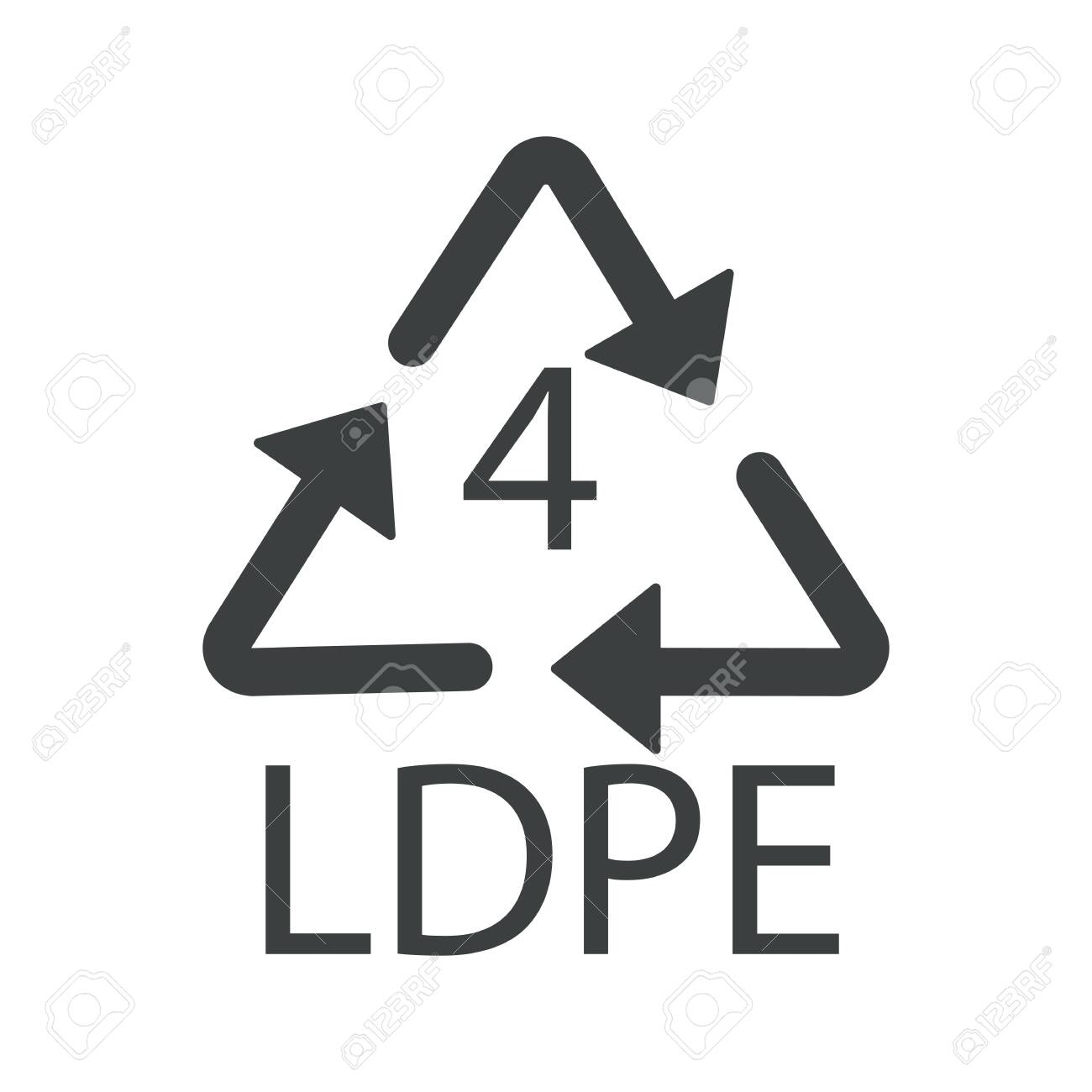 Recycle arrows triangle, plastic recycling symbol, LDPE 4 - 130366665