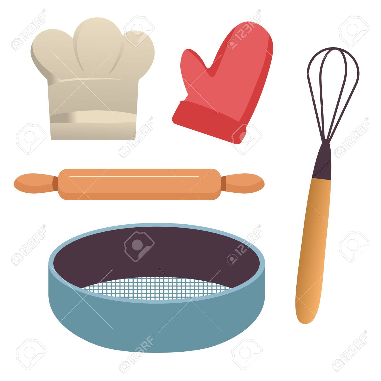 Baking tools, kitchen equipment, sieve and rolling pin, whisk and potholder - 141863328