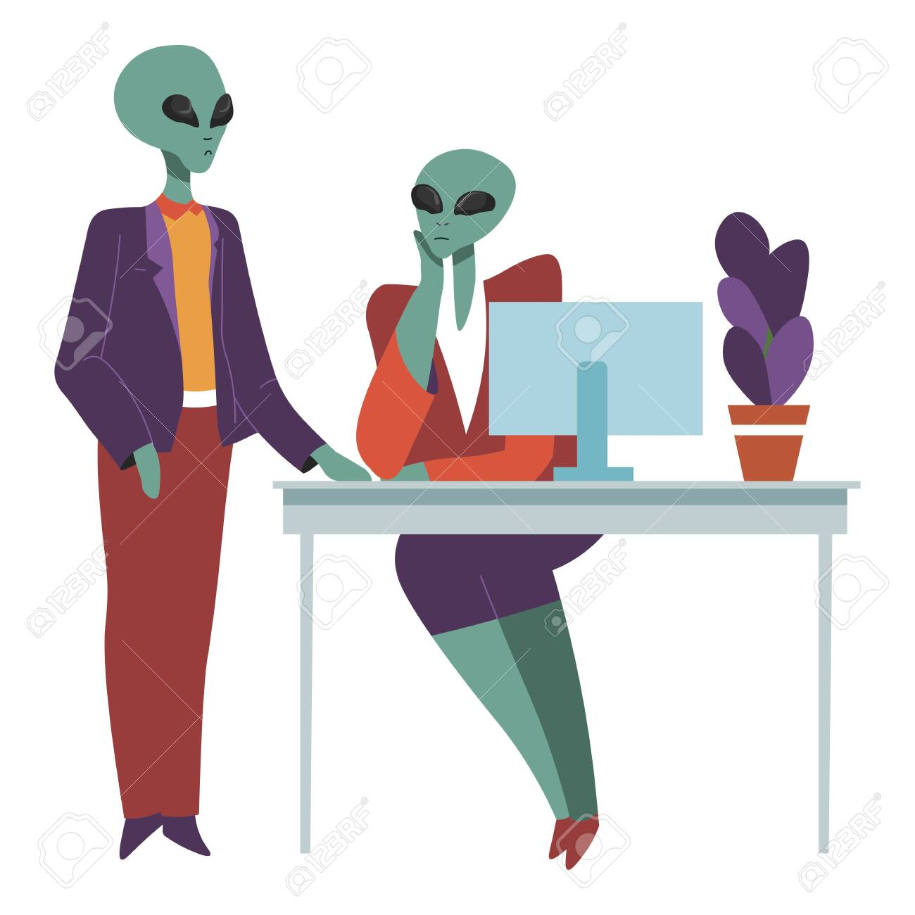 Aliens at work talking on working place, boss and secretary - 144794645