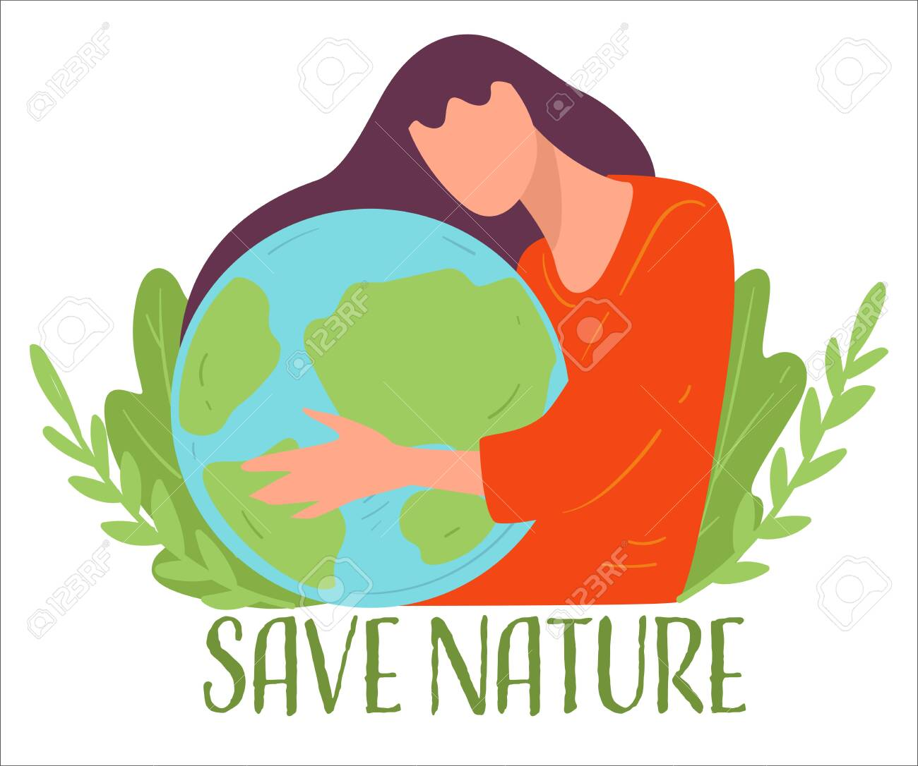 Save nature, eco friendly woman protecting planet vector - 152195684