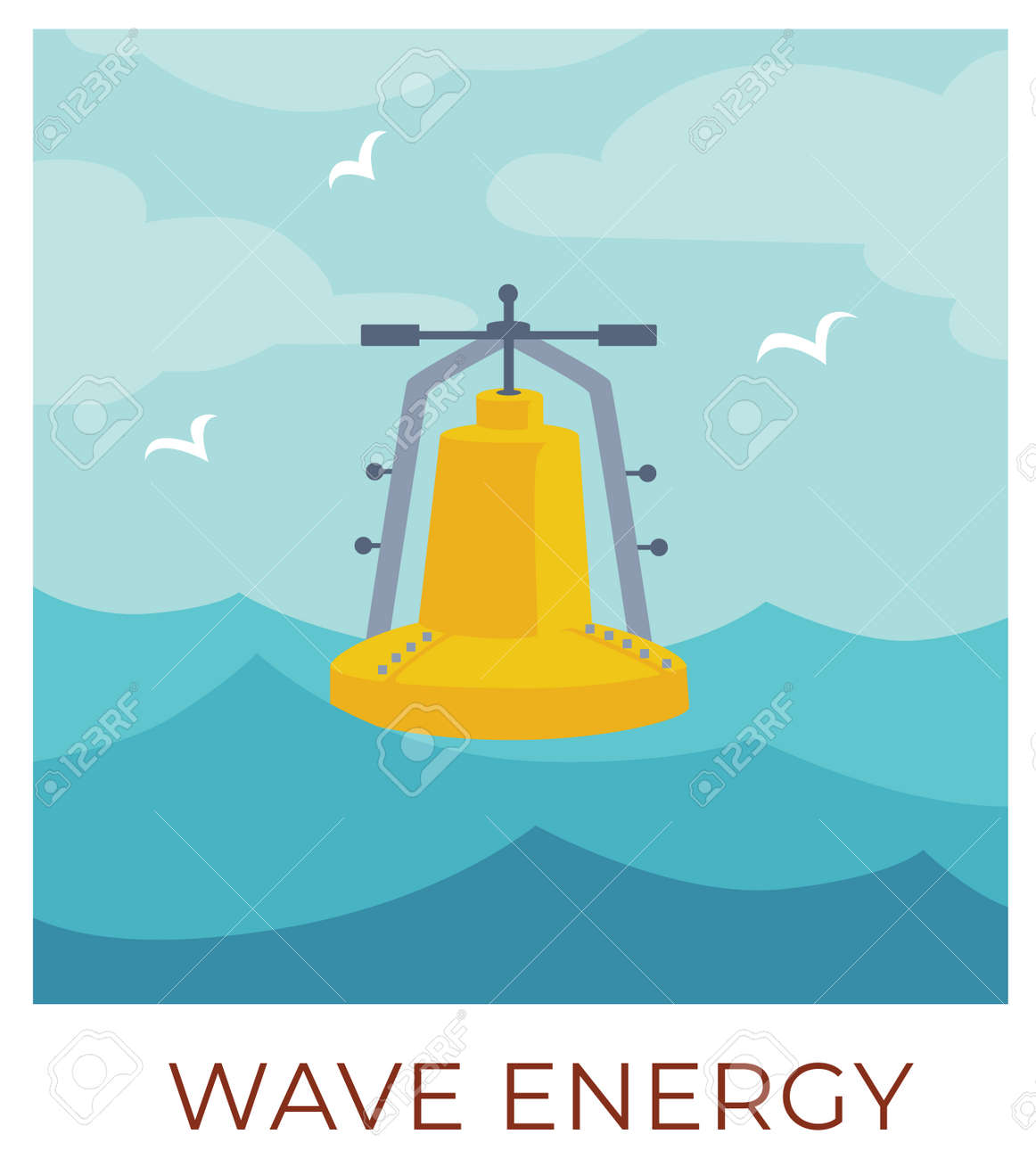 Wave energy sustainable renewable eco friendly resources vector - 157424351
