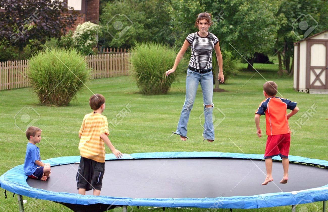 Kids Jumping On Trampoline Stock Photo, Picture And Royalty Free Image.  Image 538906.